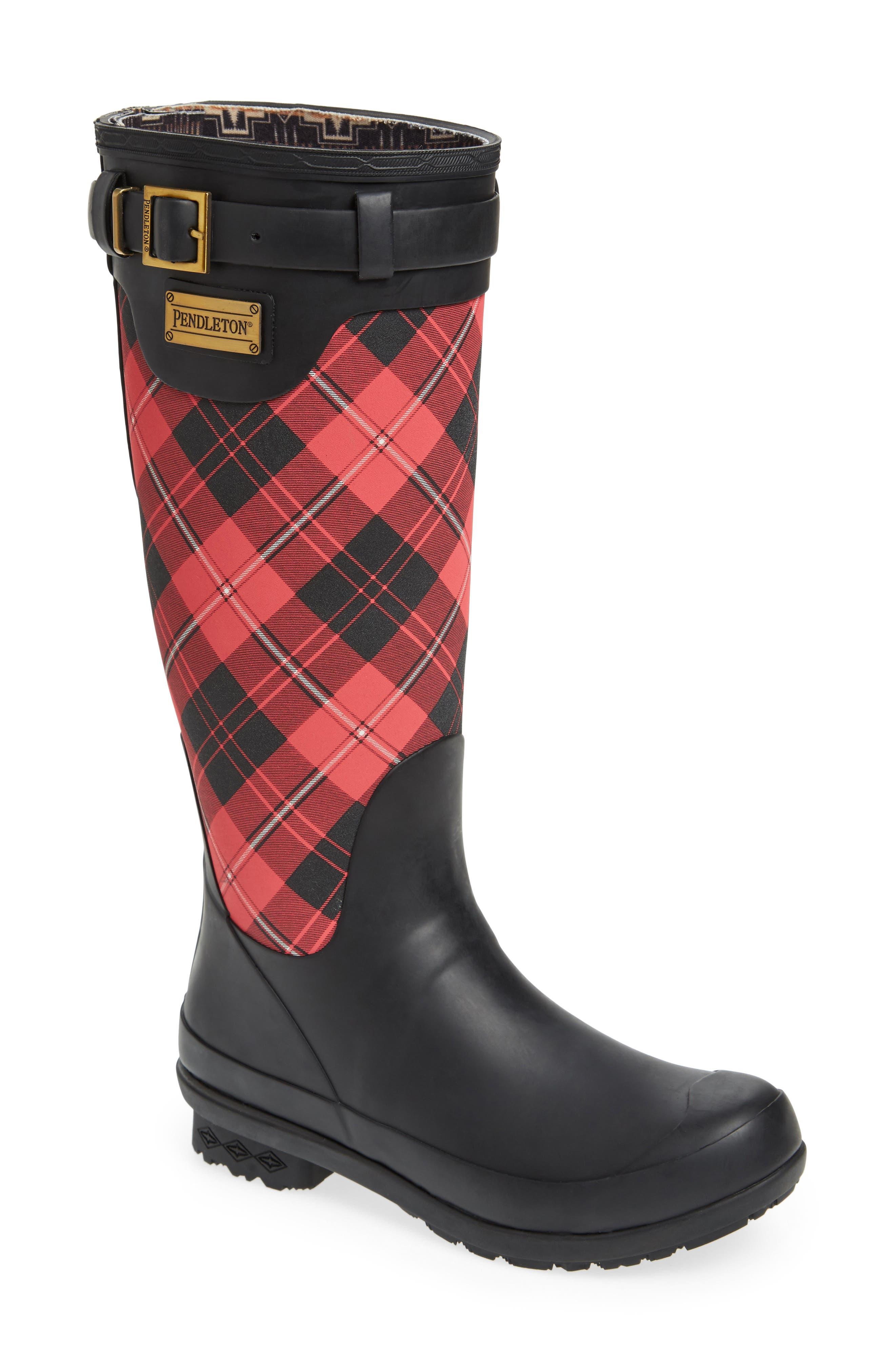 Pendleton Heritage Cunningham Tartan Tall Boot,                         Main,                         color, Scarlet