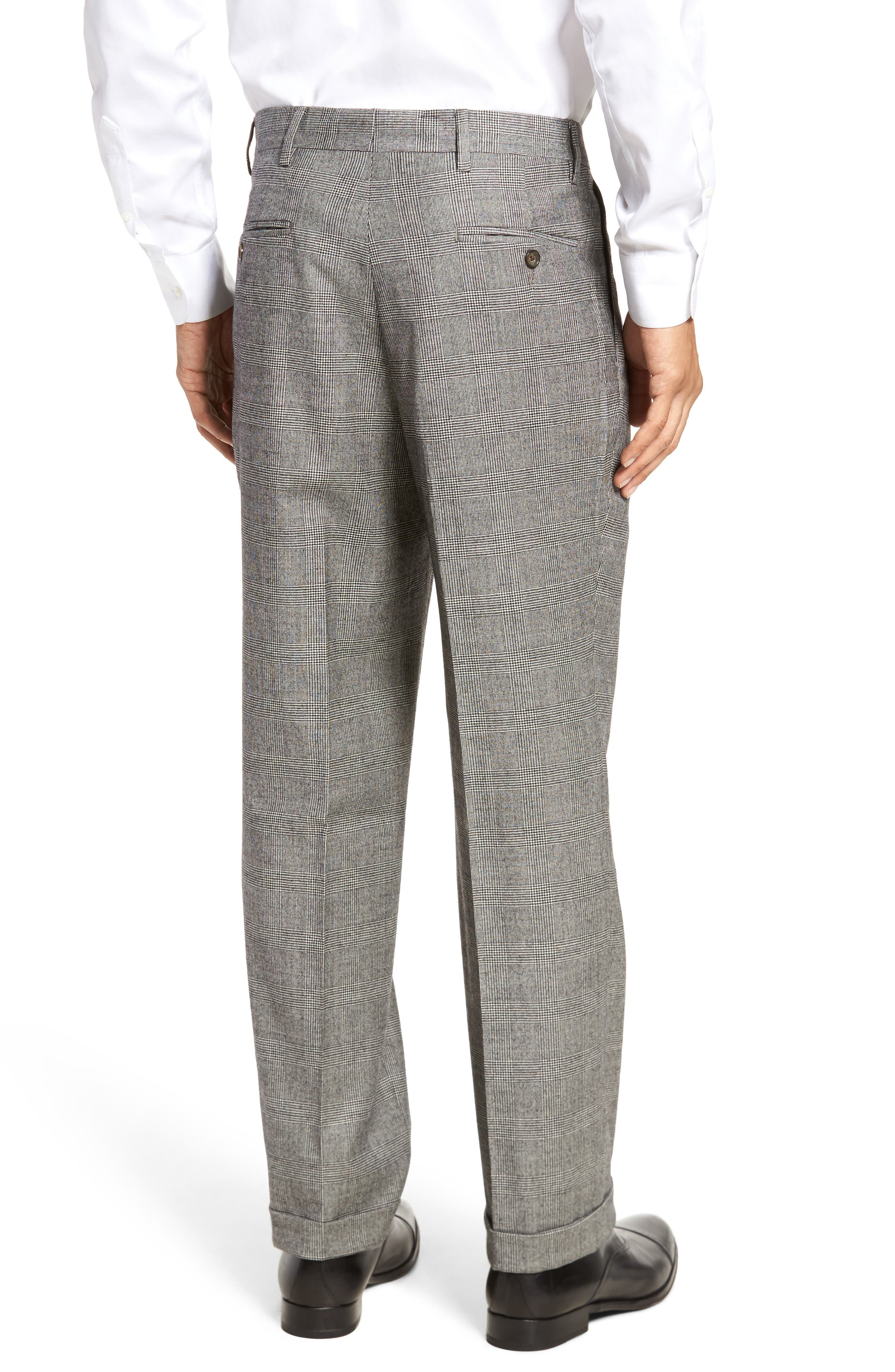 Pleated Stretch Plaid Wool Trousers,                             Alternate thumbnail 2, color,                             Black/ White
