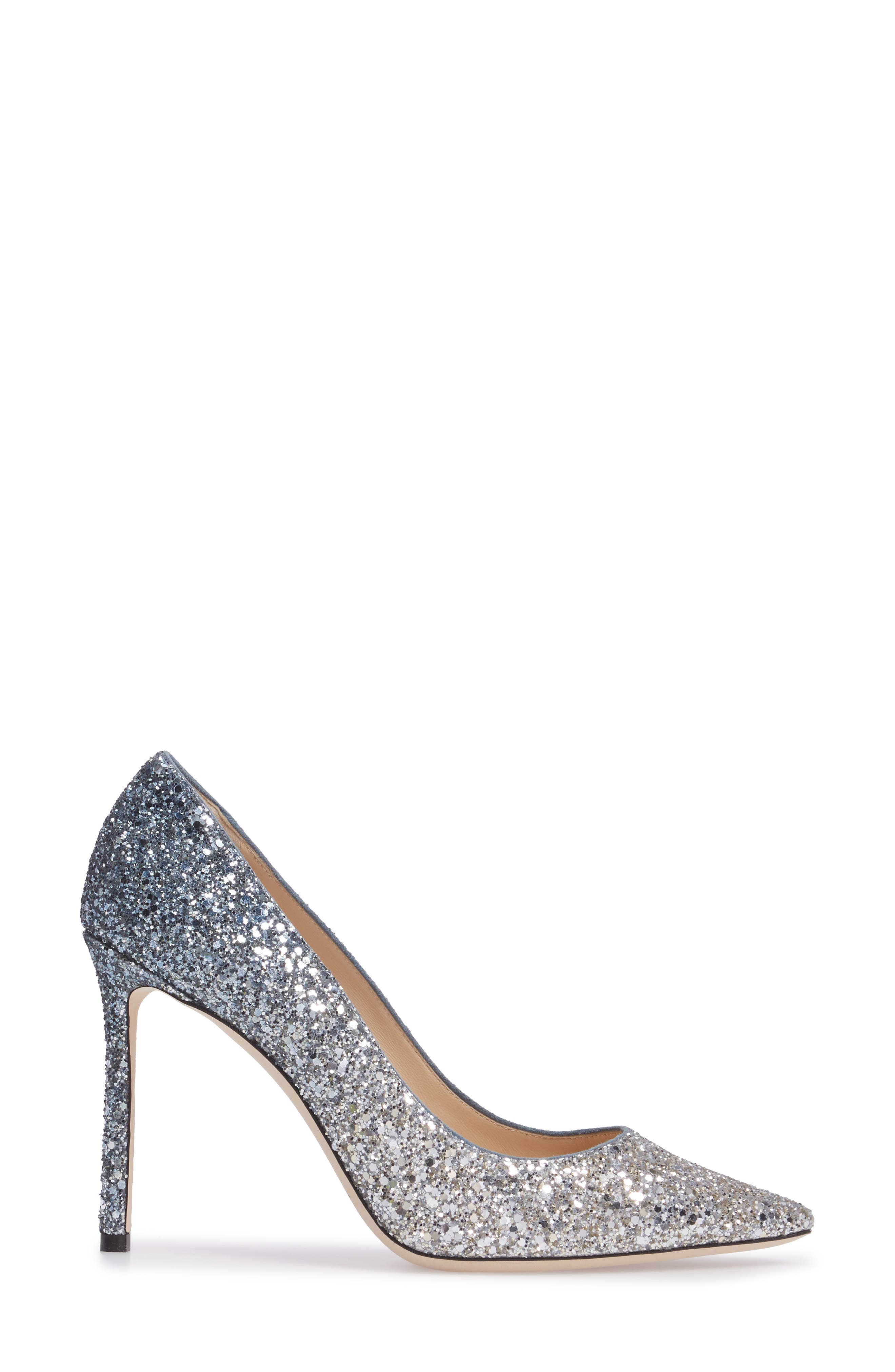Romy Glitter Pump,                             Alternate thumbnail 2, color,                             Silver/ Dusk Blue