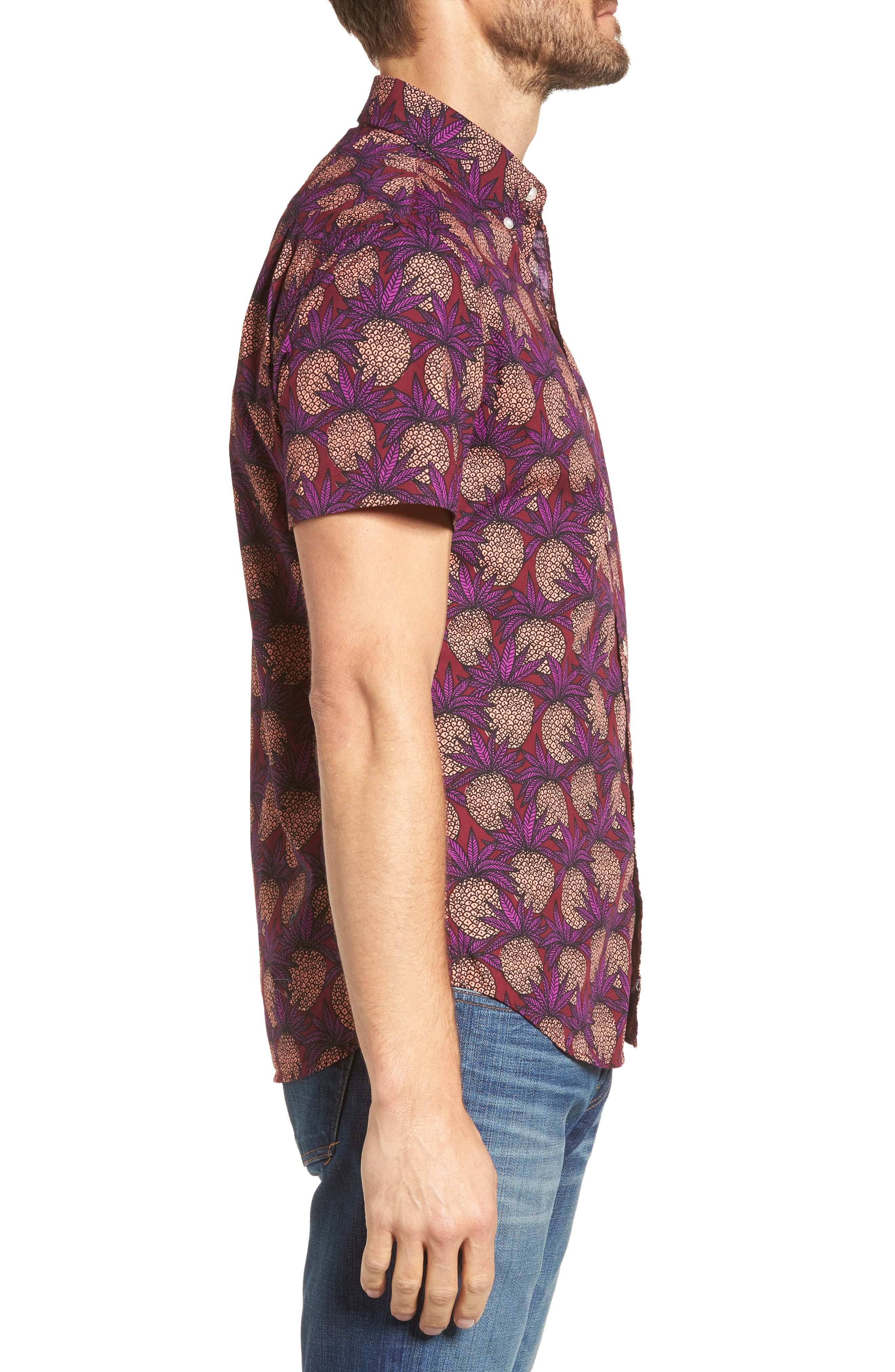 Slim Fit Pineapple Sport Shirt,                             Alternate thumbnail 3, color,                             Pineapple Fields Sangria
