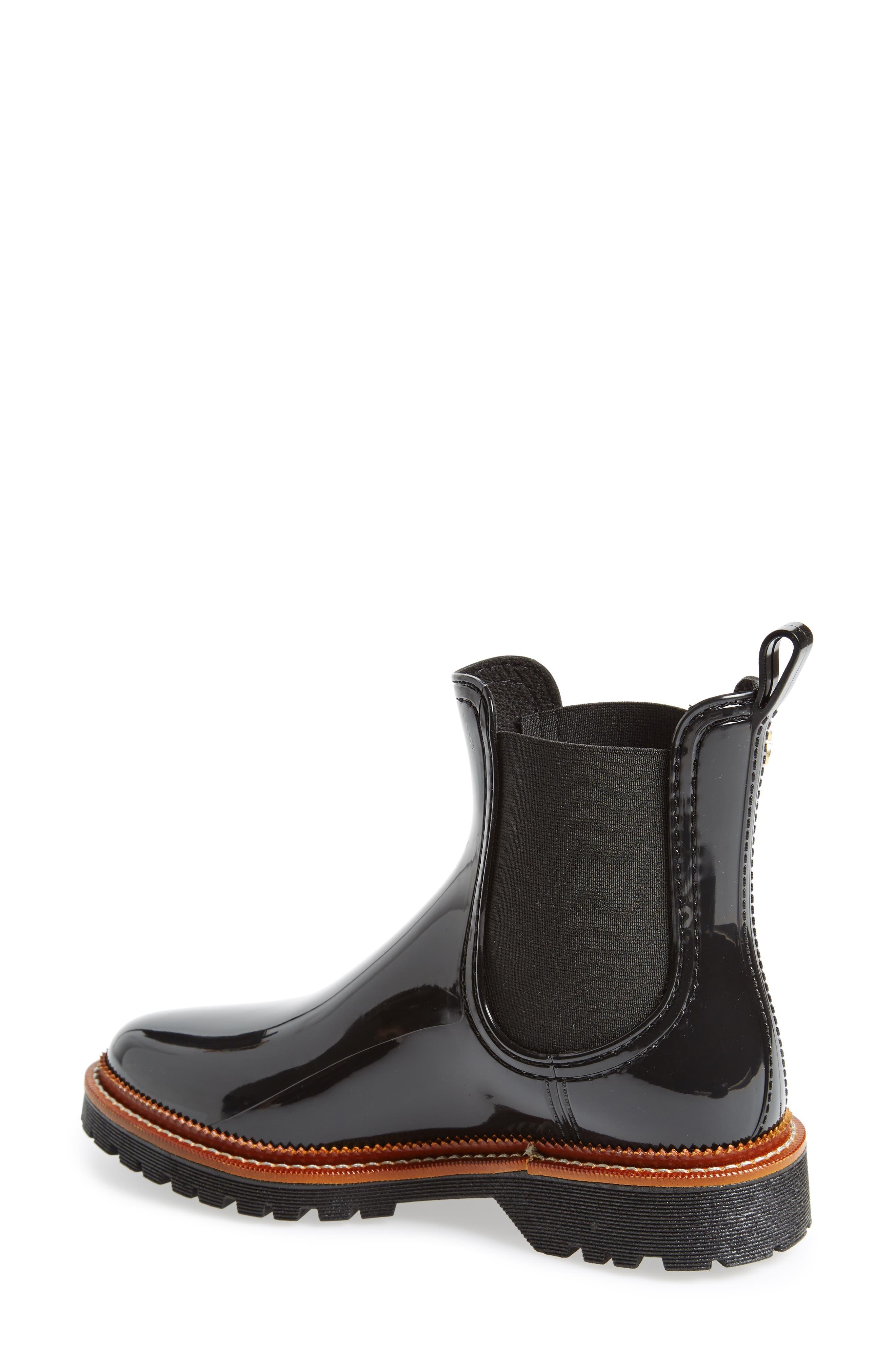 April Waterproof Chelsea Boot,                             Alternate thumbnail 2, color,                             Black Gloss