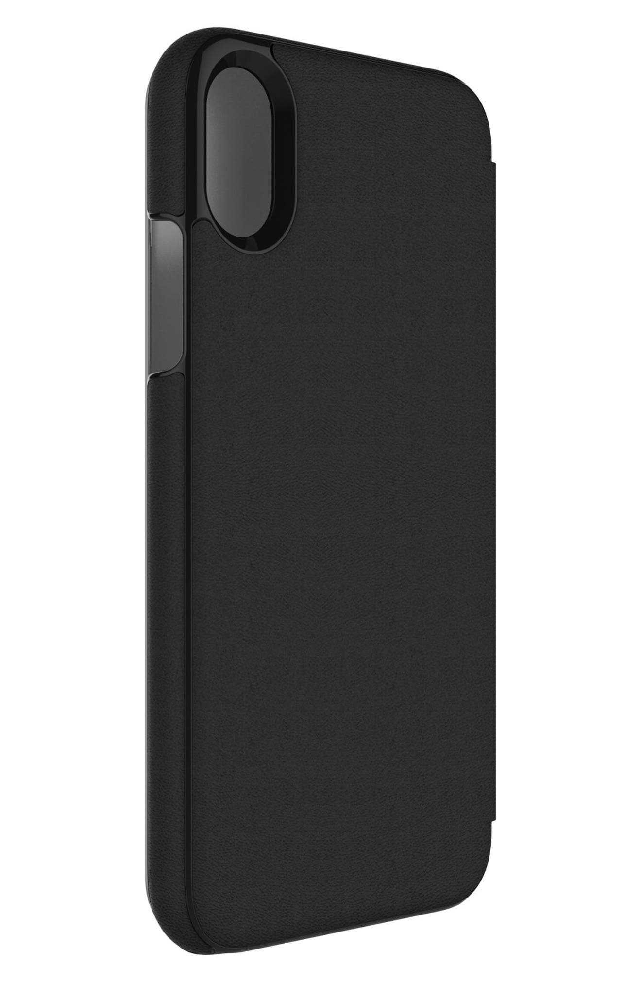 Privacy Folio iPhone X Case,                             Alternate thumbnail 3, color,                             Black Gunmetal