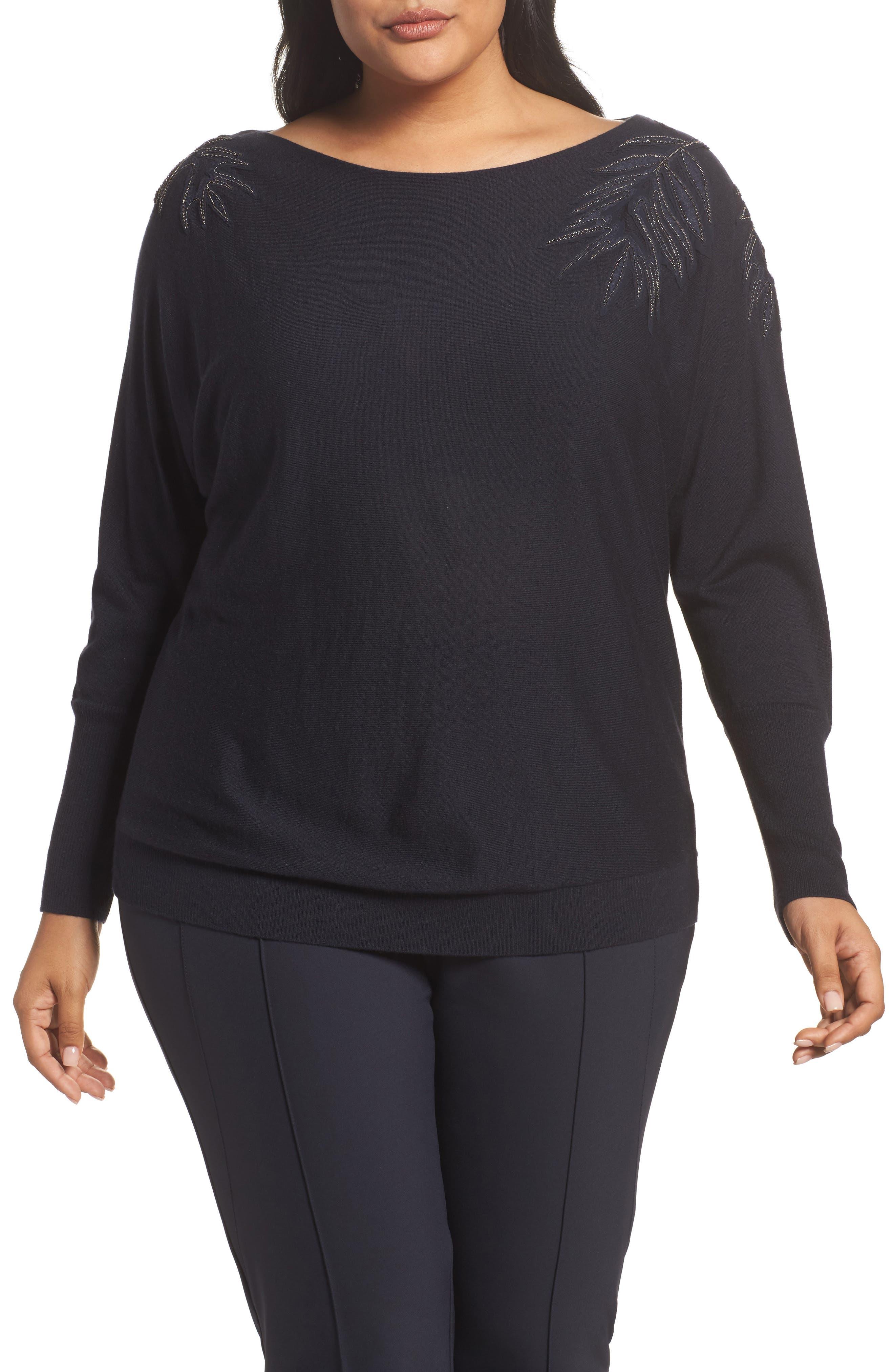Main Image - Lafayette 148 New York Cashmere & Silk Dolman Sweater (Plus Size)