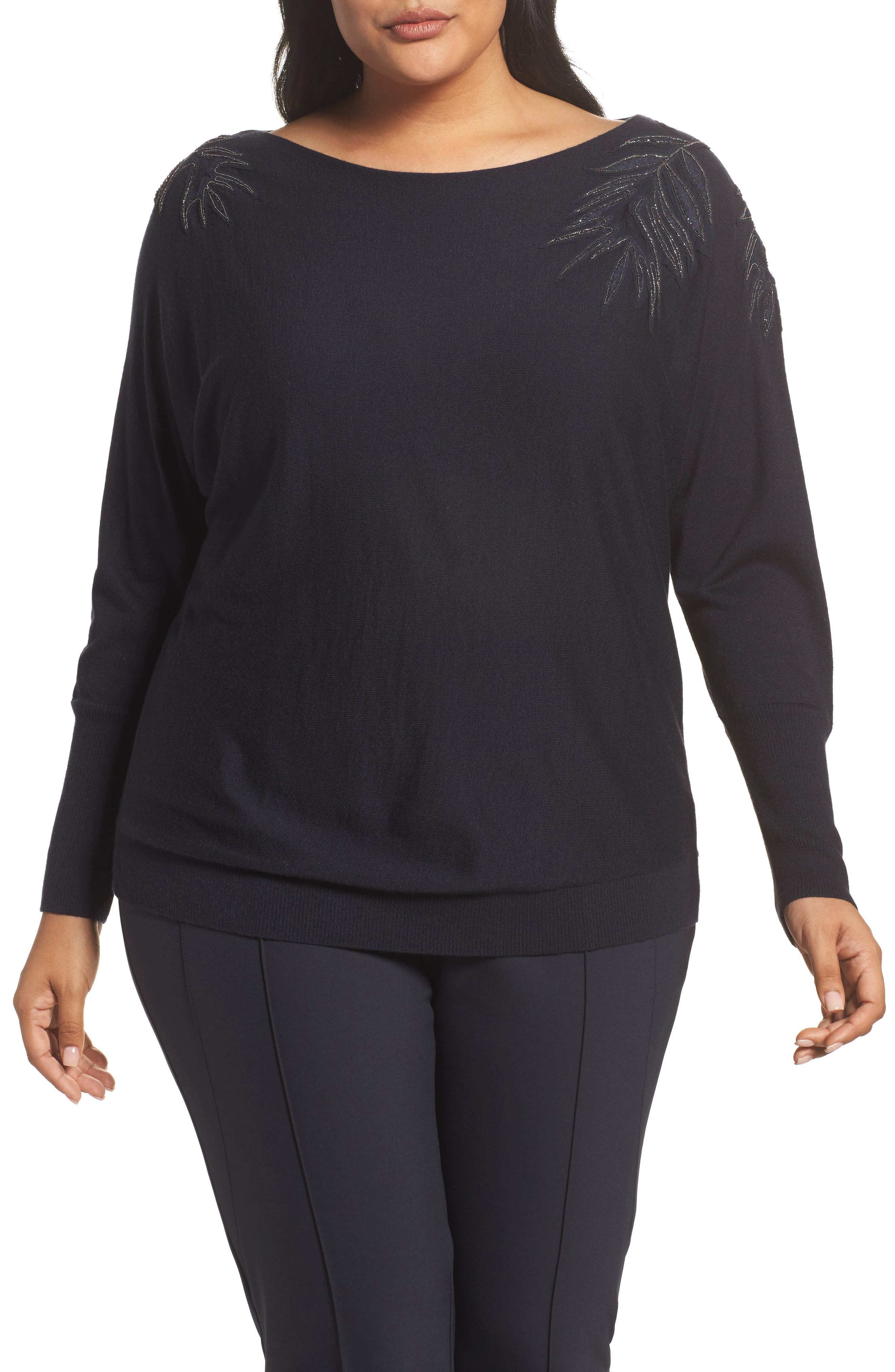 Lafayette 148 New York Cashmere & Silk Dolman Sweater (Plus Size)