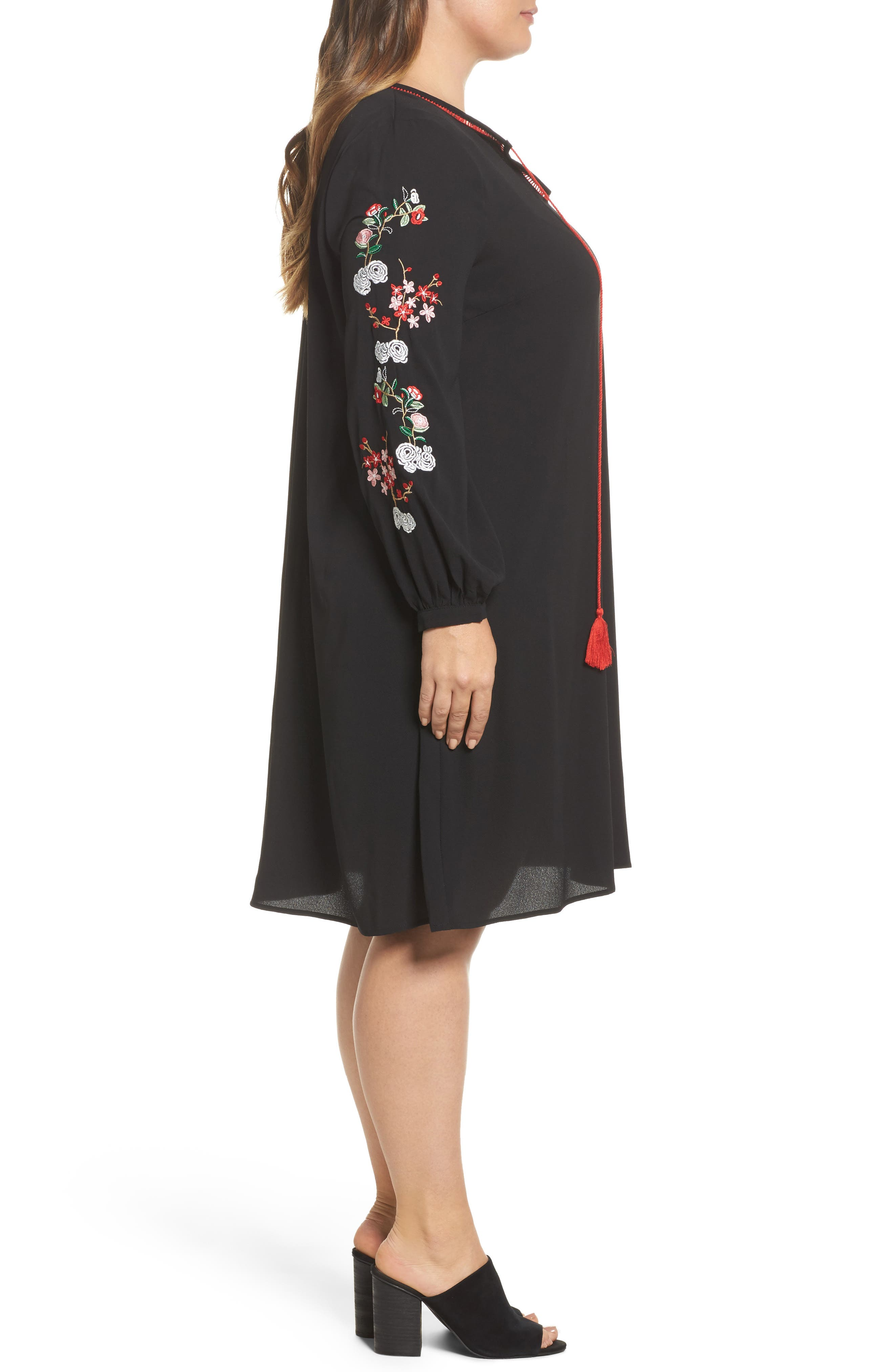 Floral Embroidered Shift Dress,                             Alternate thumbnail 3, color,                             Black