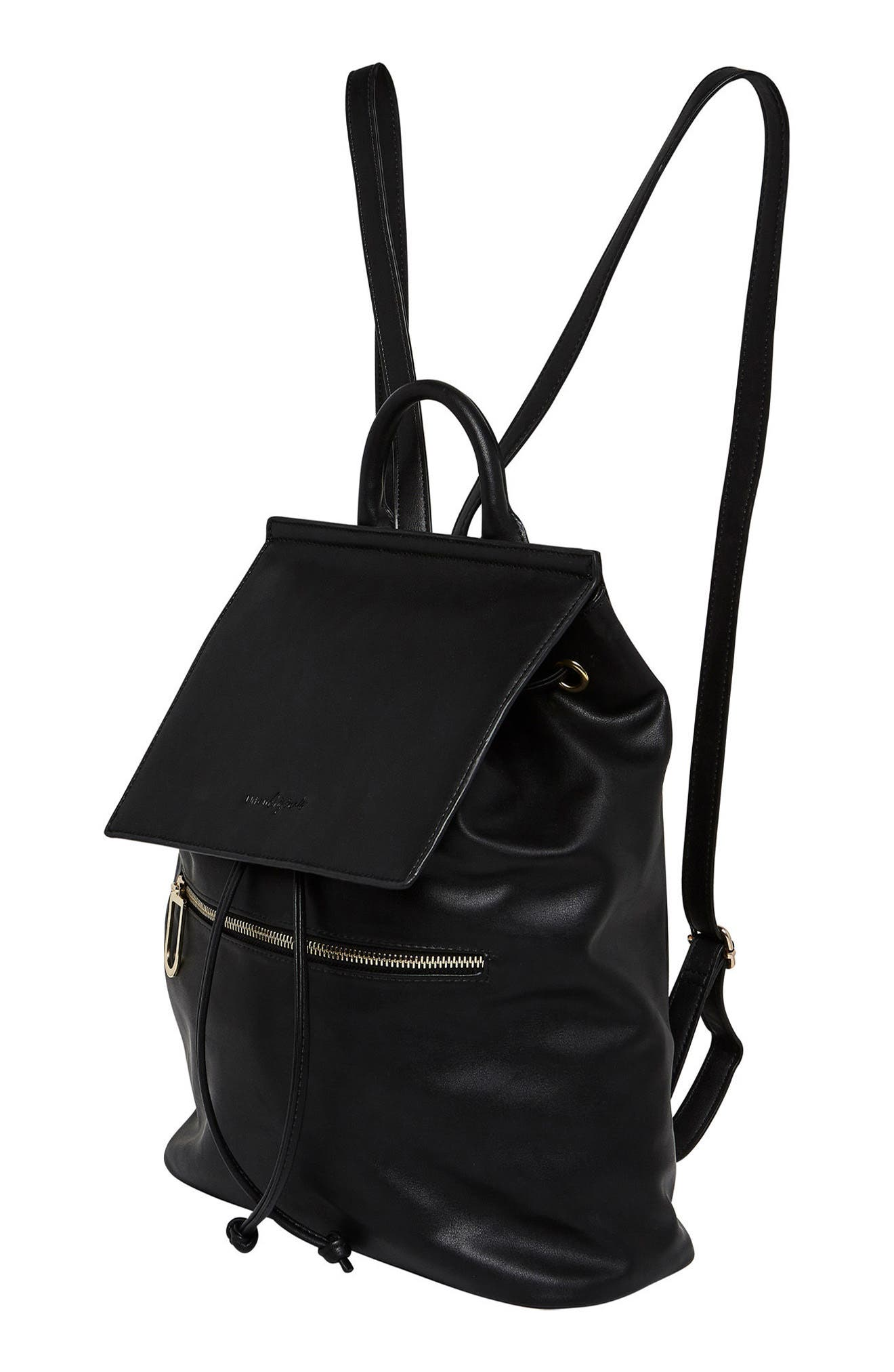 Hide & Seek Vegan Leather Backpack,                             Alternate thumbnail 4, color,                             Black