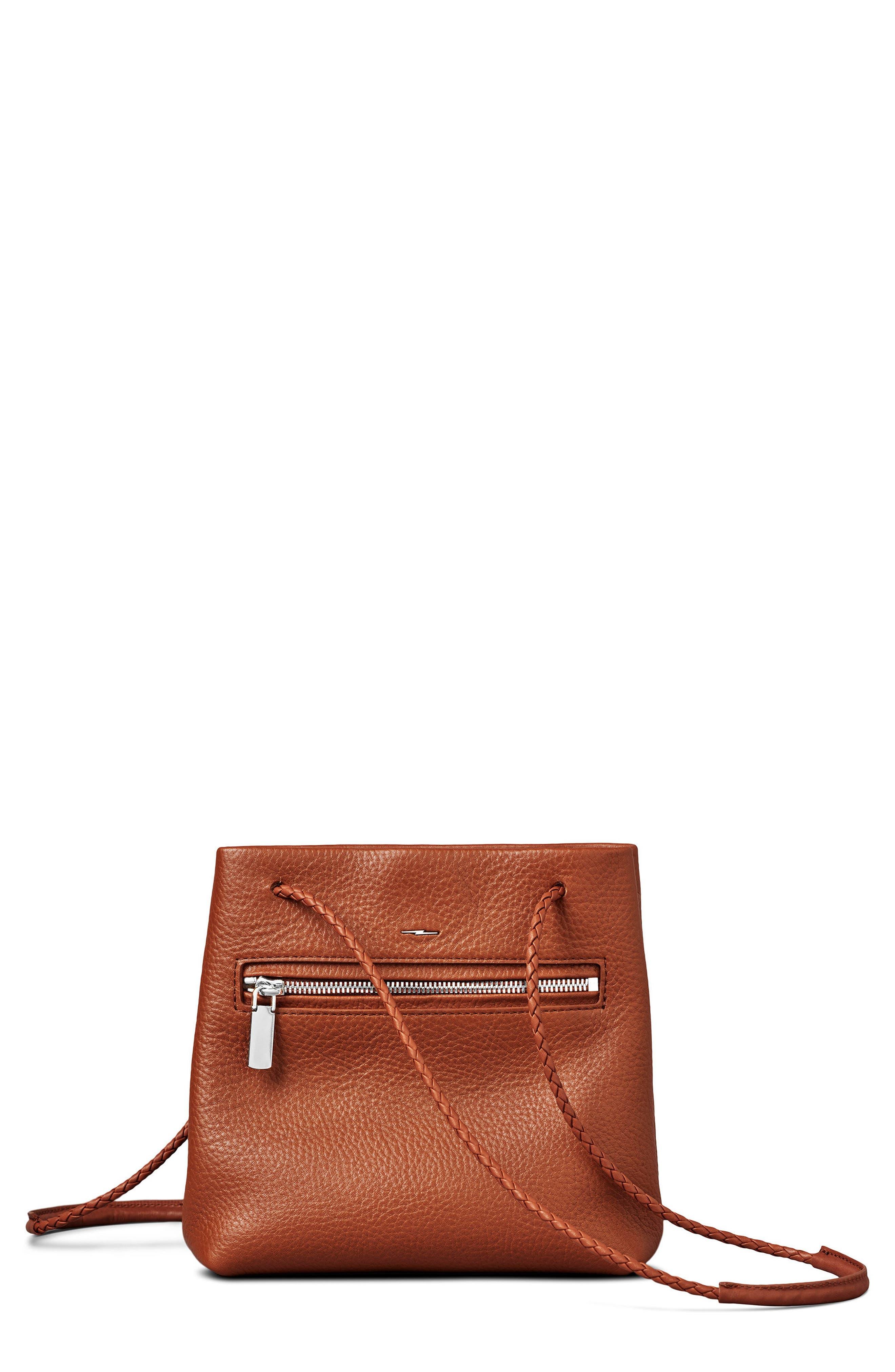Mini Pebbled Leather Drawstring Crossbody Bag,                             Main thumbnail 1, color,                             Bourbon