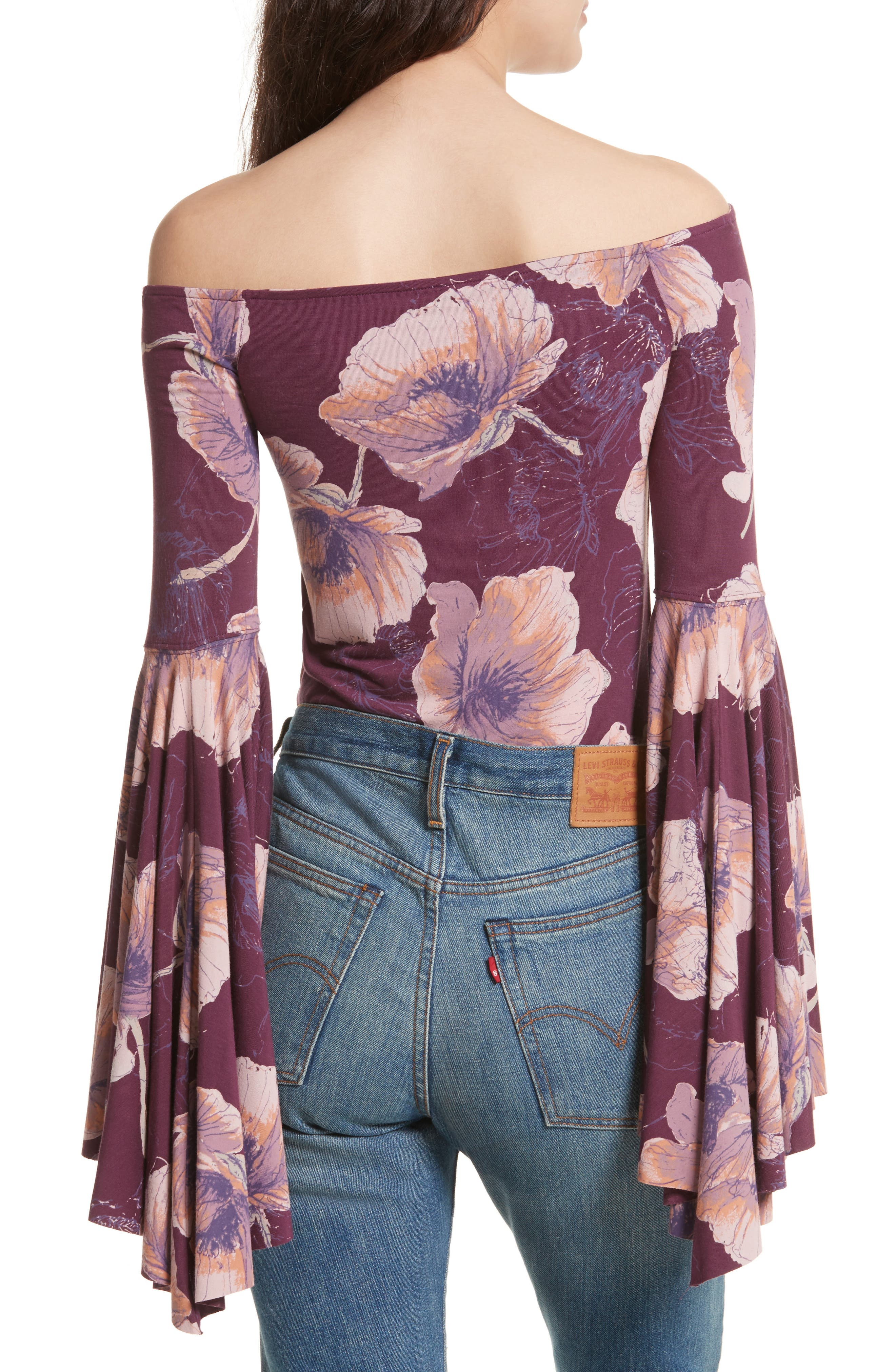 Birds of Paradise Print Off the Shoulder Top,                             Alternate thumbnail 2, color,                             Wine