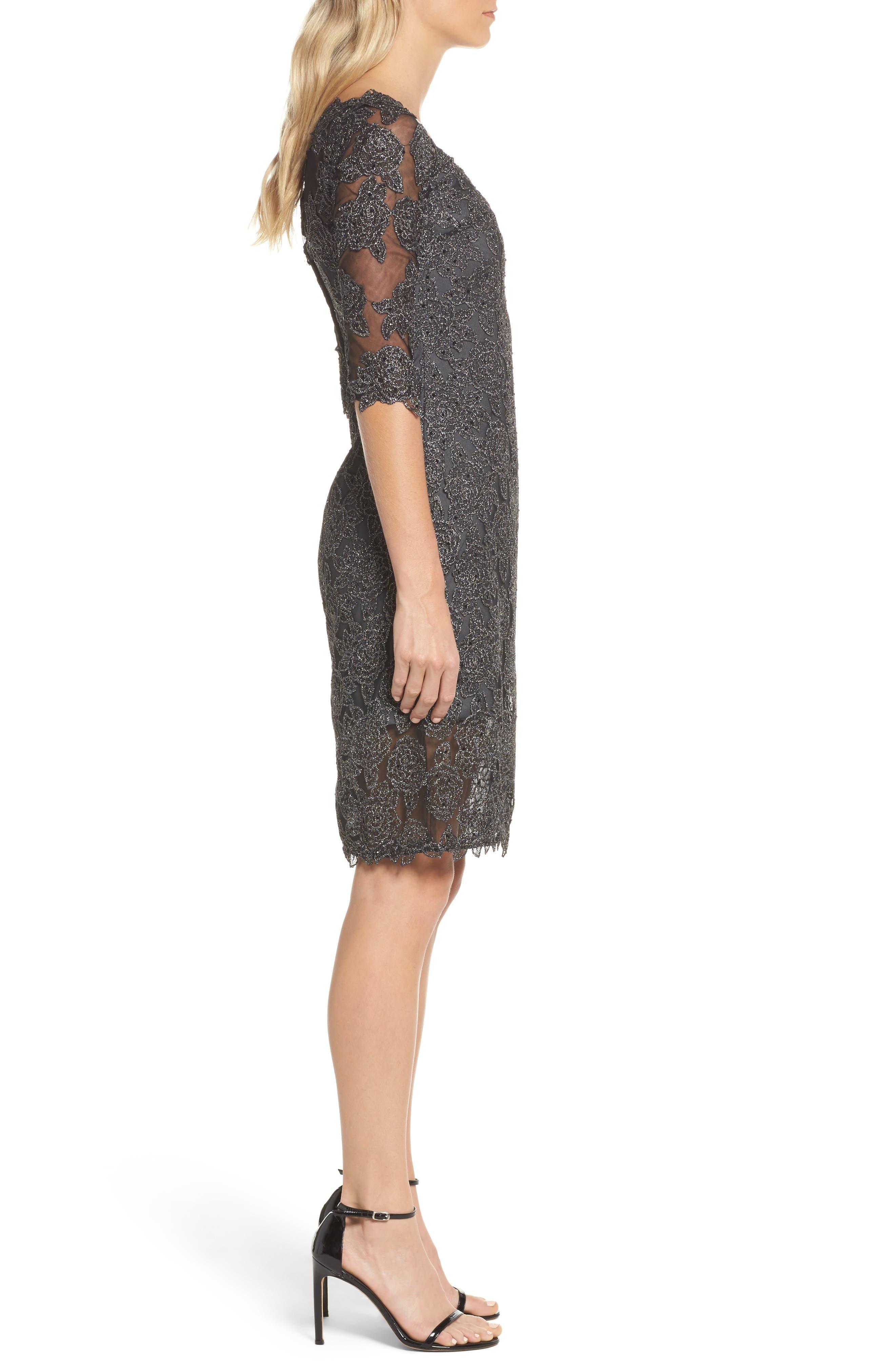 Lace Sheath Dress,                             Alternate thumbnail 3, color,                             Gunmetal
