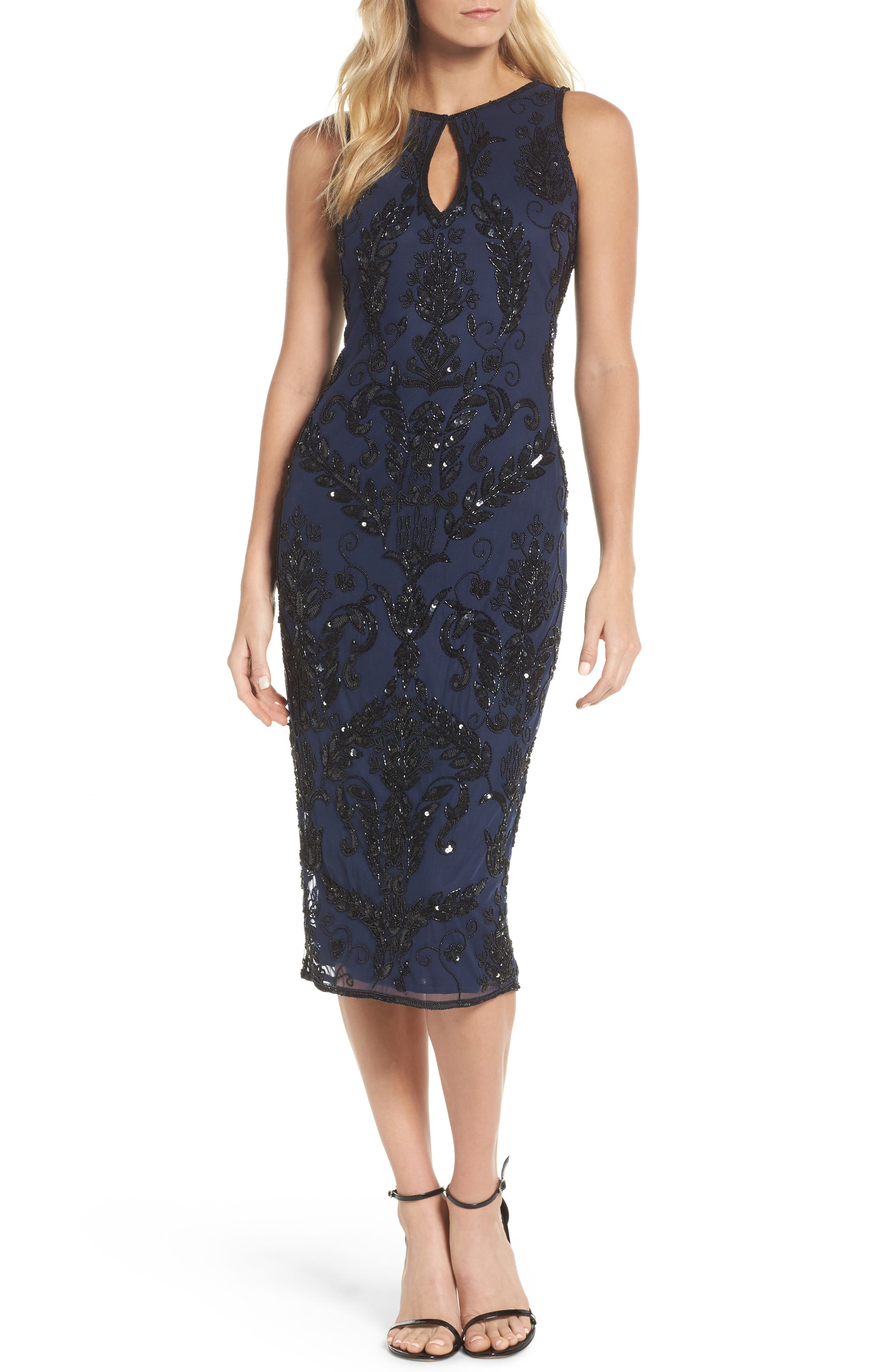 Pisarro Nights Beaded Pencil Dress (Regular & Petite)
