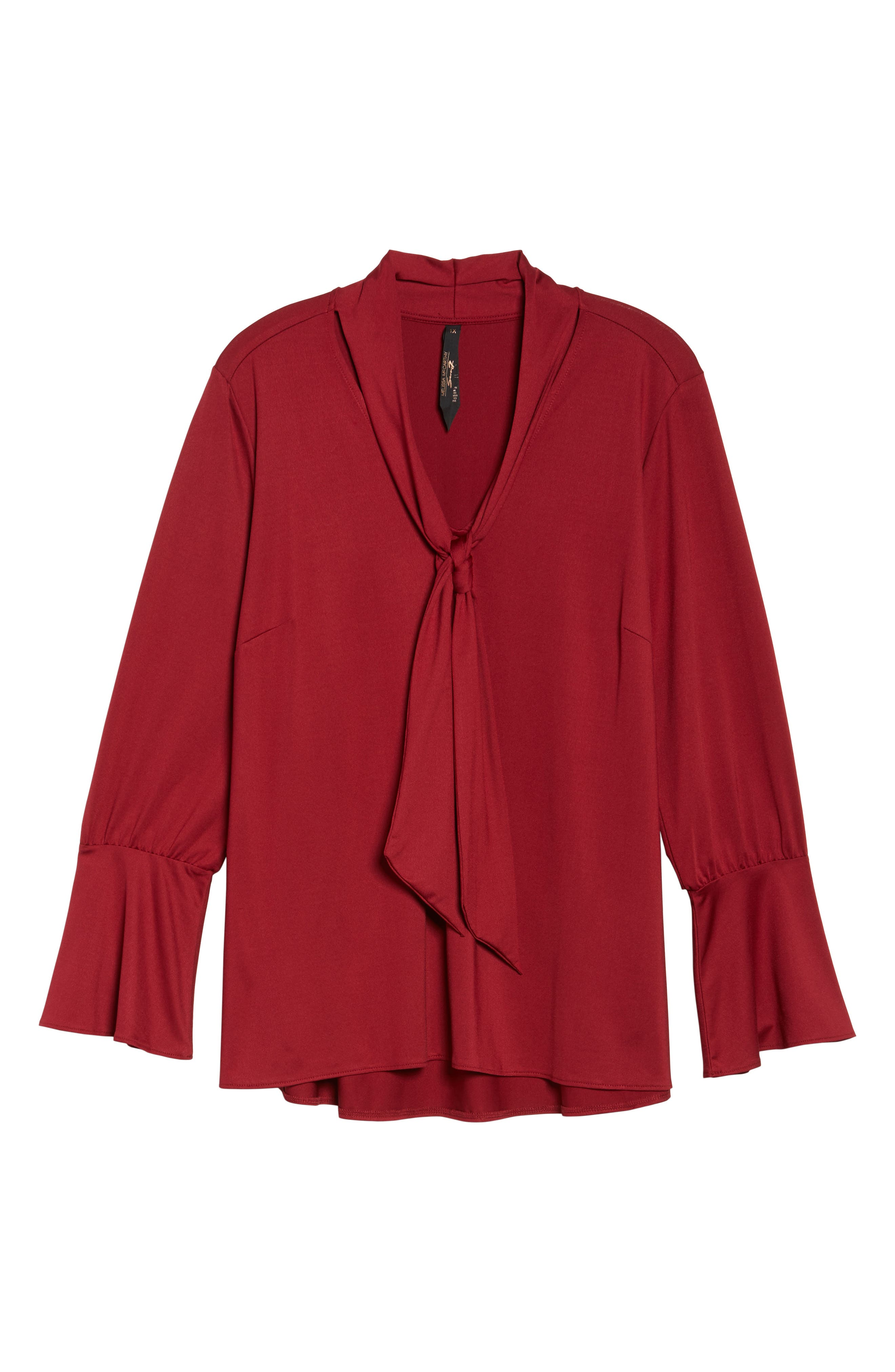 Tie Neck Top,                             Alternate thumbnail 6, color,                             Rhubarb