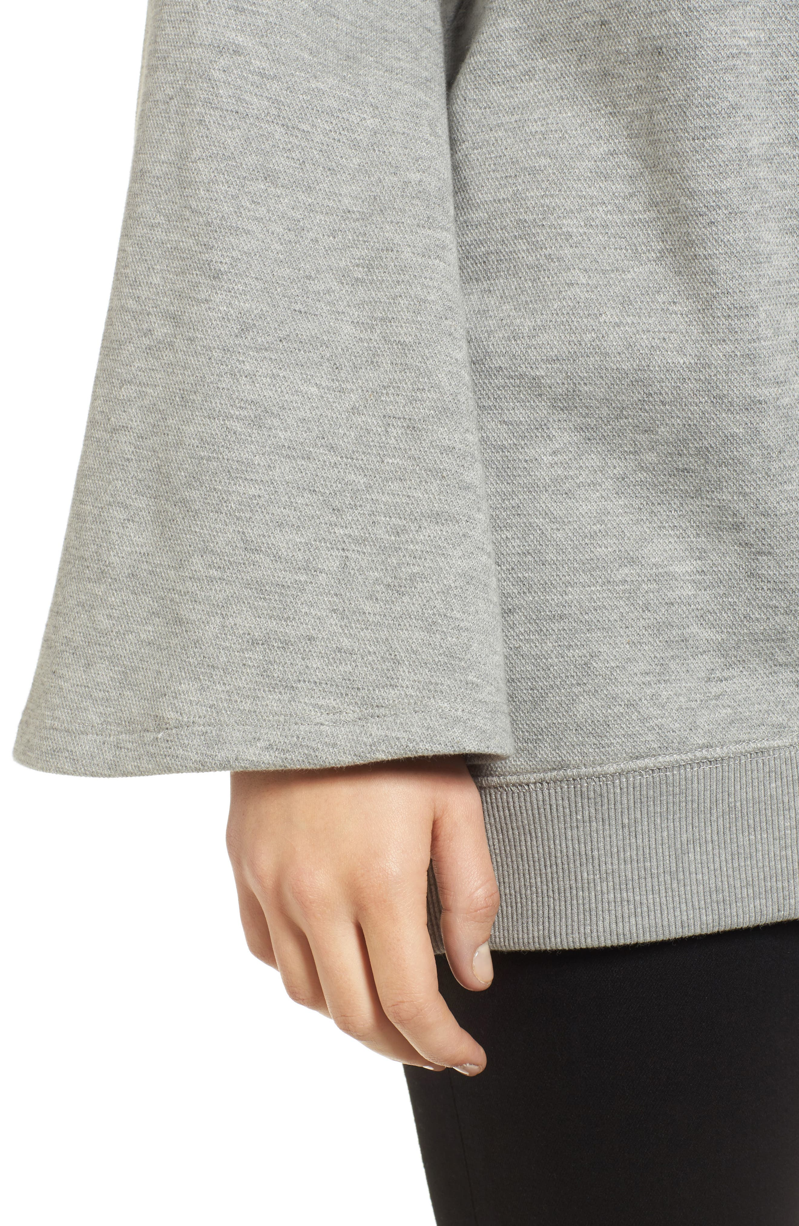 Bell Sleeve Ribbed Sweatshirt,                             Alternate thumbnail 4, color,                             Heather Gray Bros