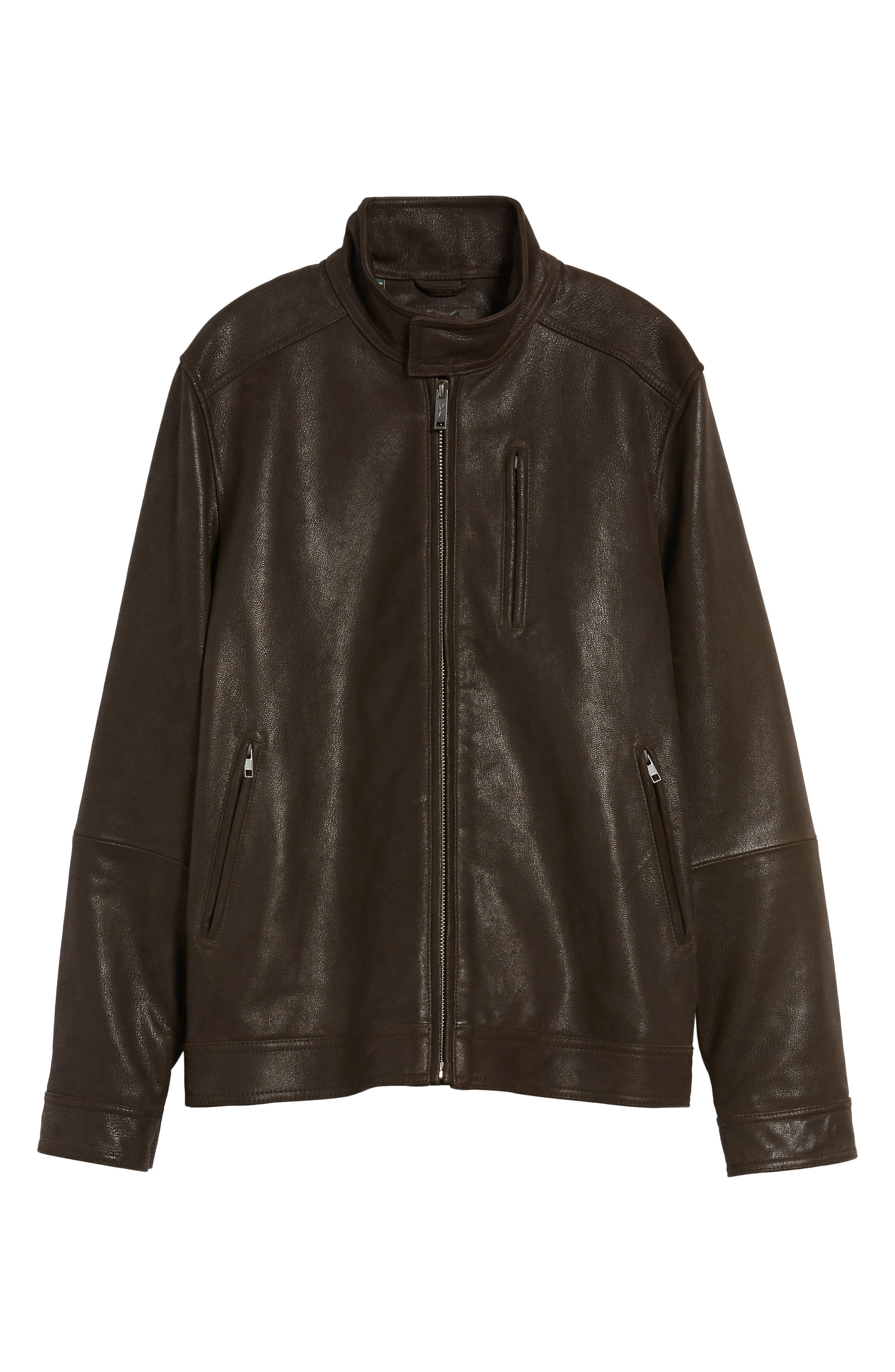Westhaven Distressed Leather Bomber Jacket,                             Alternate thumbnail 6, color,                             Chocolate