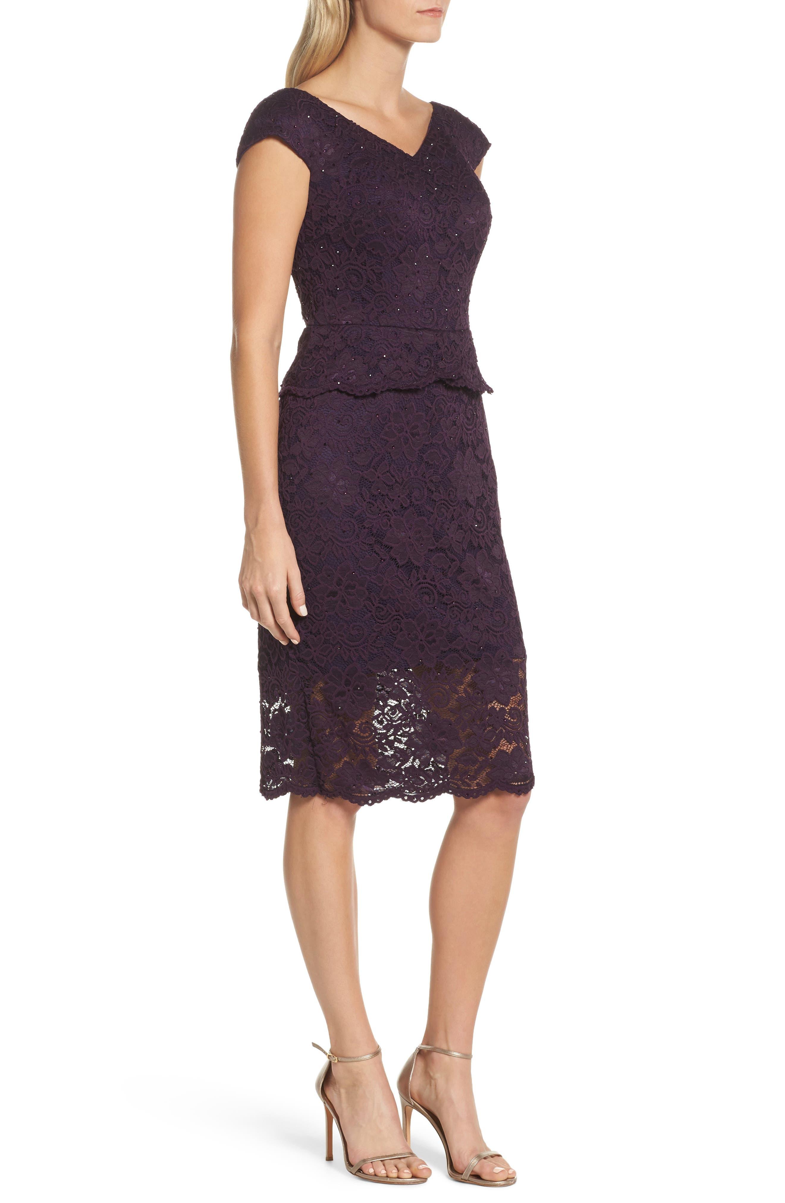 Embellished Lace Sheath Dress,                             Alternate thumbnail 3, color,                             Plum