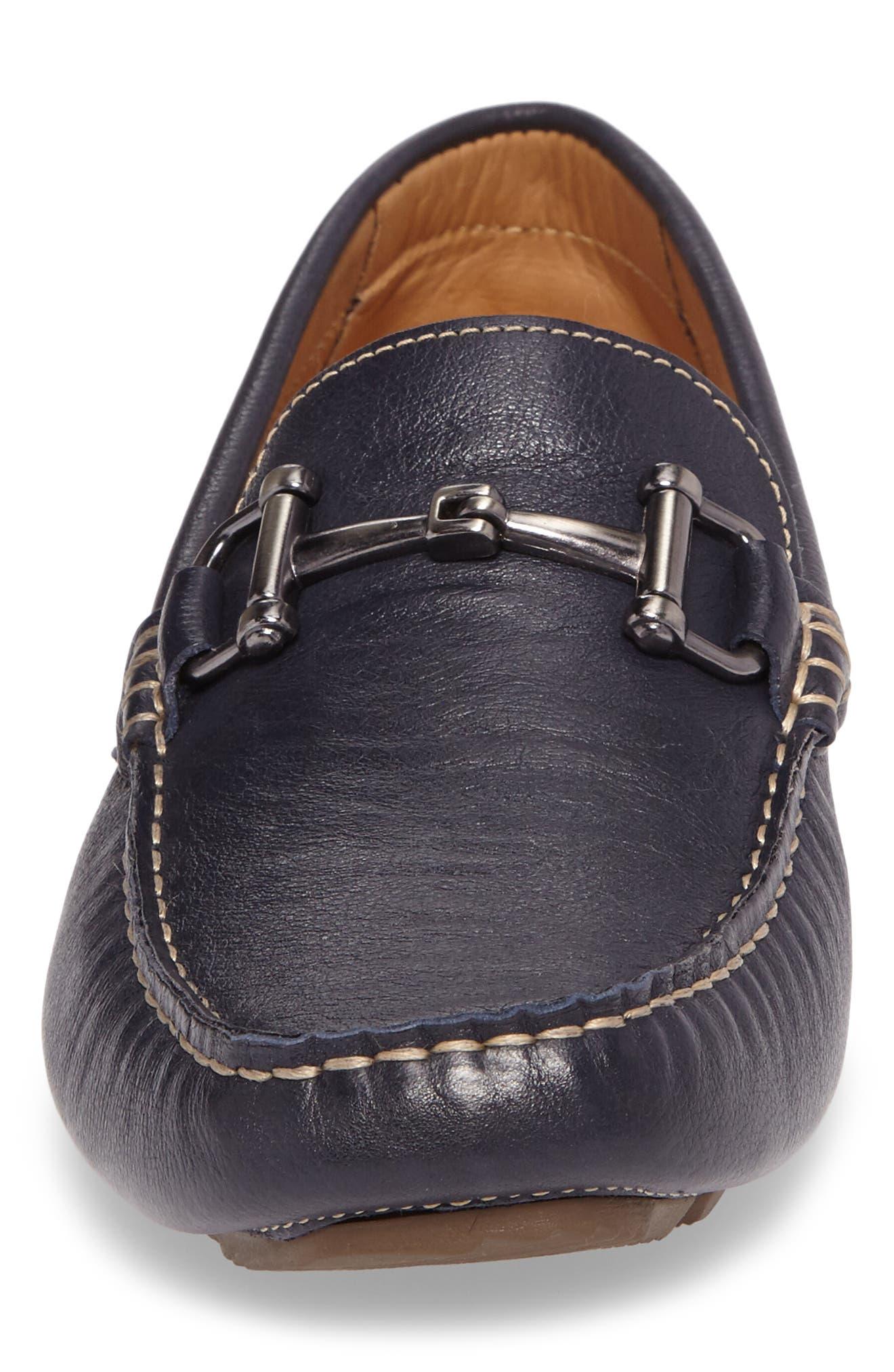 Topanga Driving Shoe,                             Alternate thumbnail 4, color,                             Navy Leather