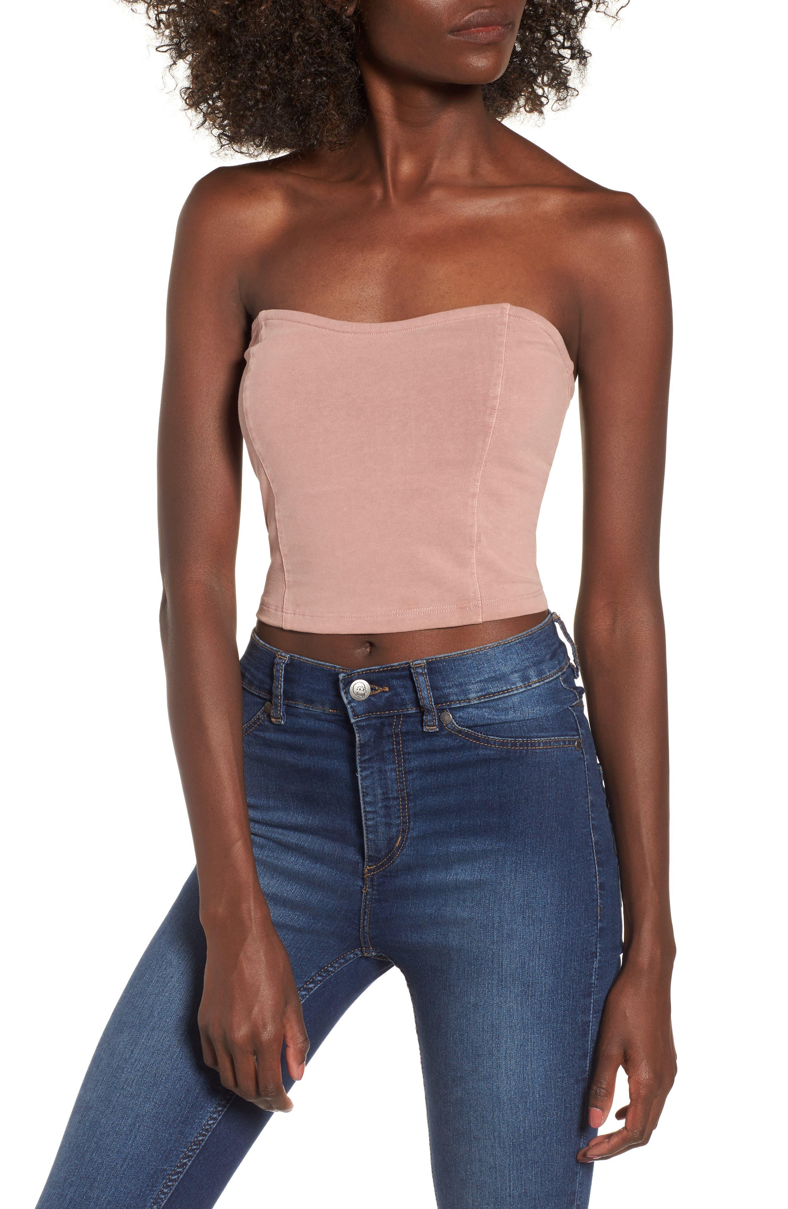 BP. Stretch Cotton Strapless Top