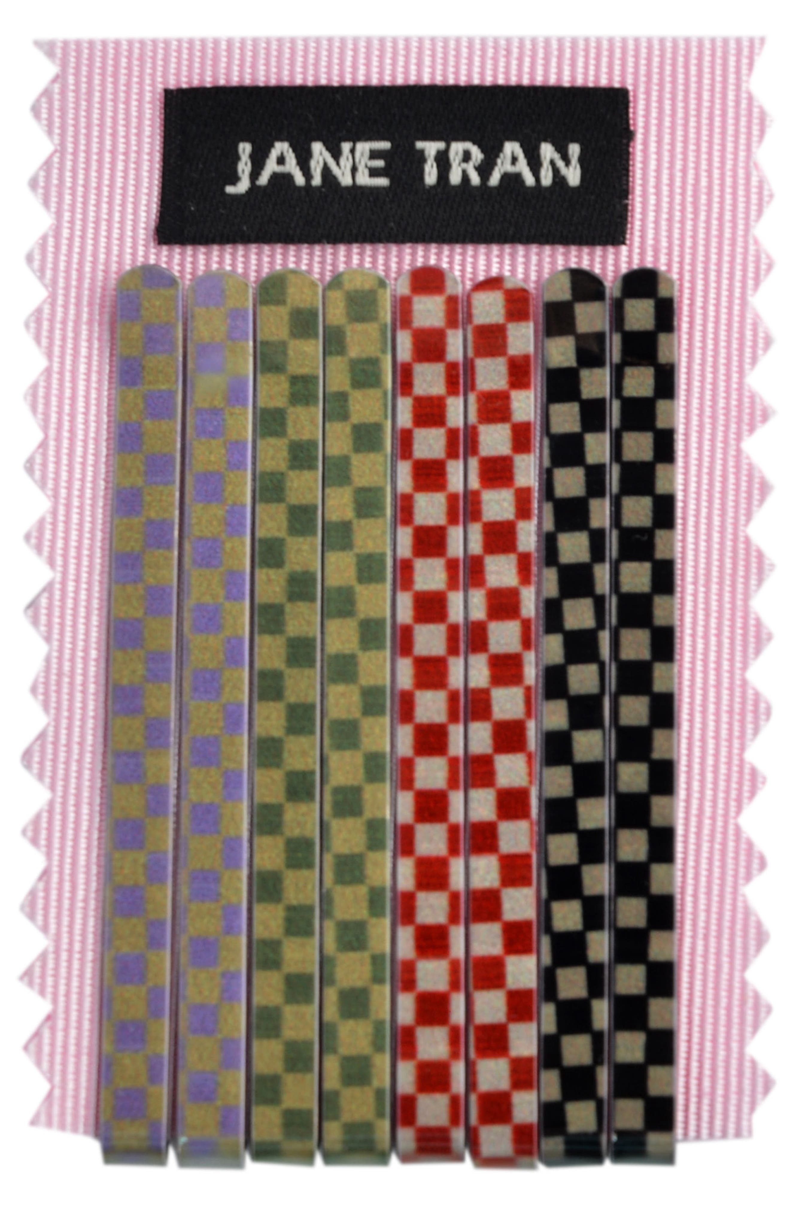 Multi Checkered Set of 8 Assorted Bobby Pins,                             Alternate thumbnail 2, color,