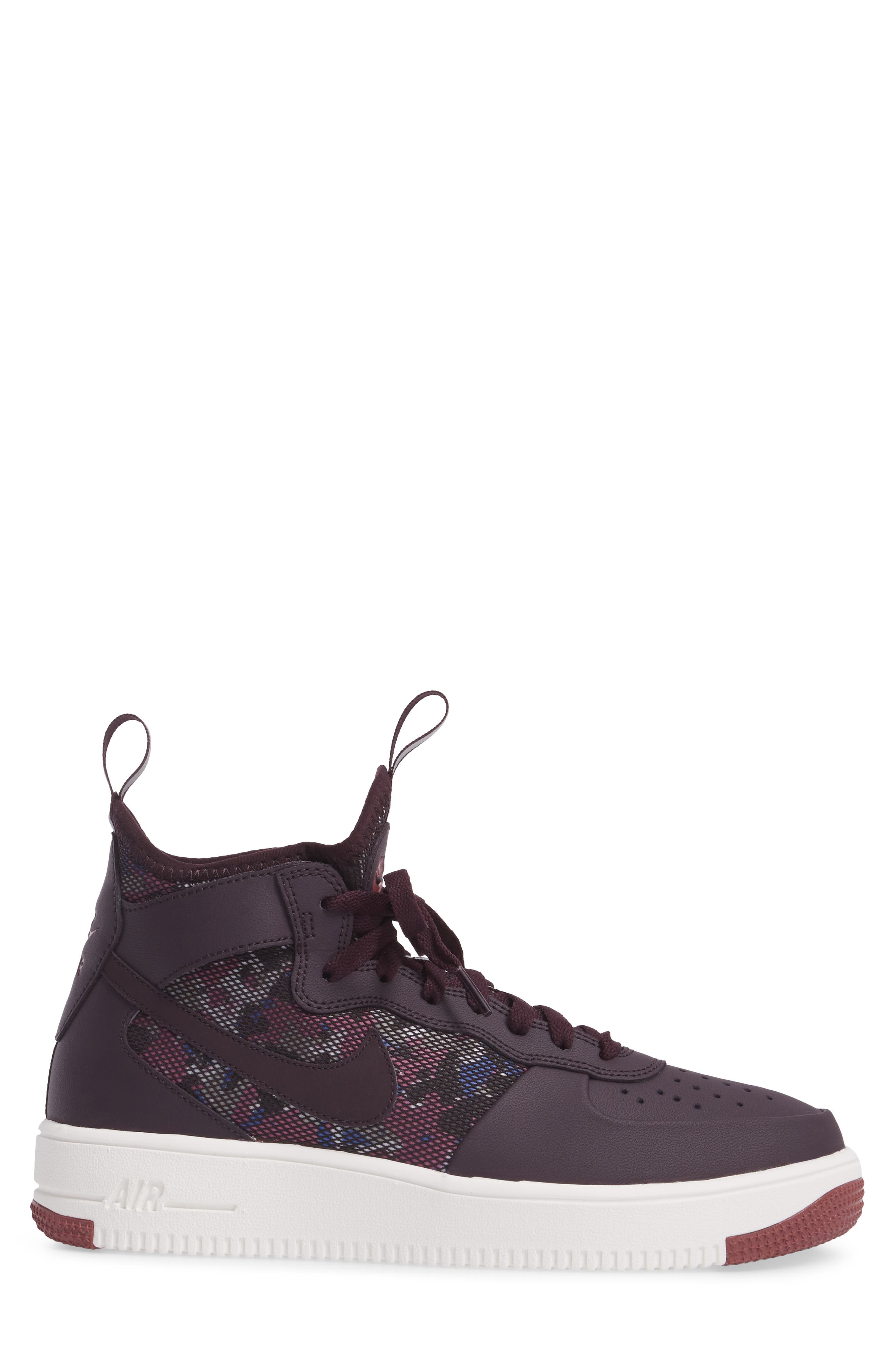 Air Force 1 Ultraforce Mid Sneaker,                             Alternate thumbnail 3, color,                             Port Wine/ Summit White