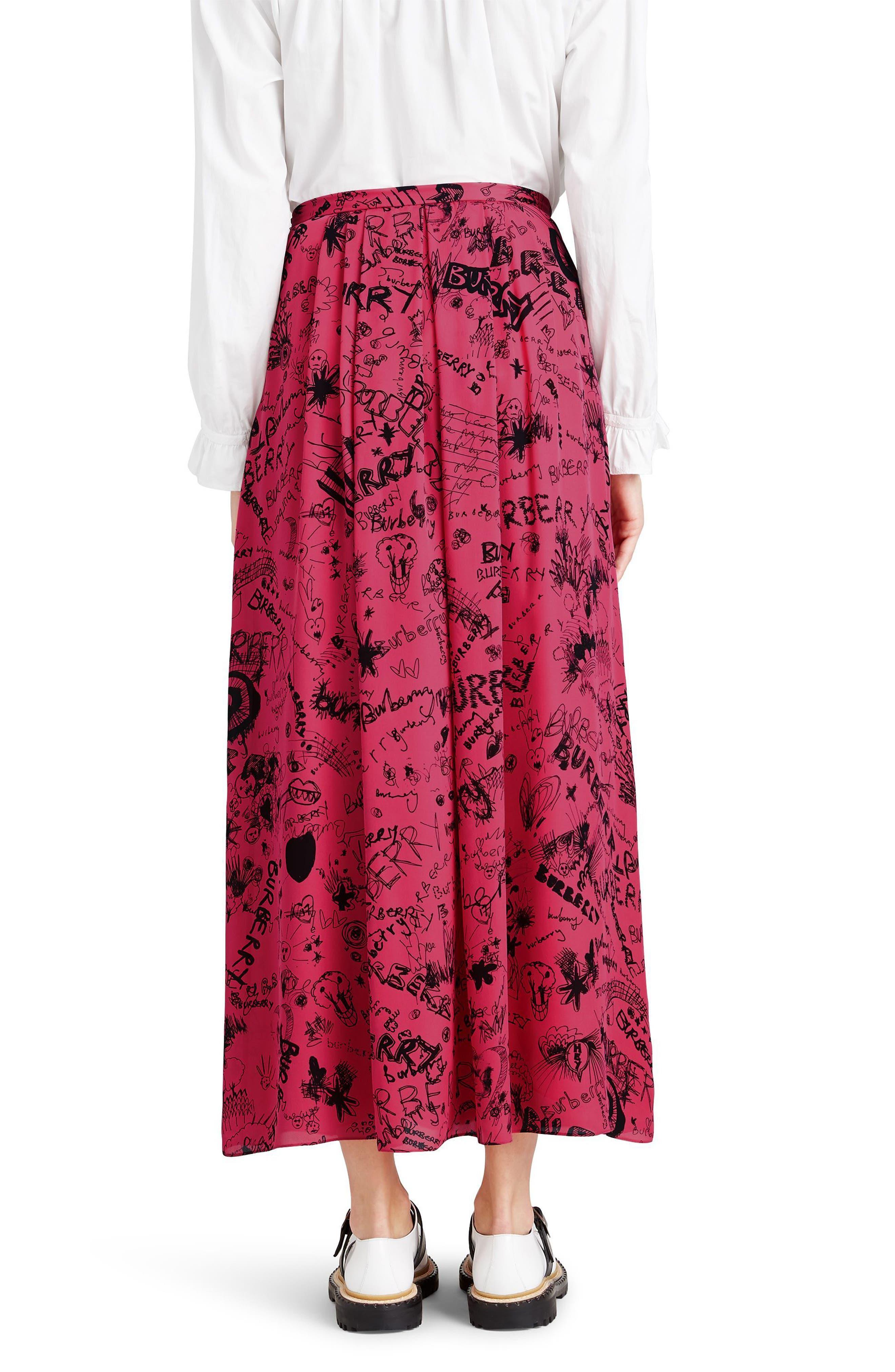 Neckar Doodle Print Silk Skirt,                             Alternate thumbnail 2, color,                             Fluro Pink