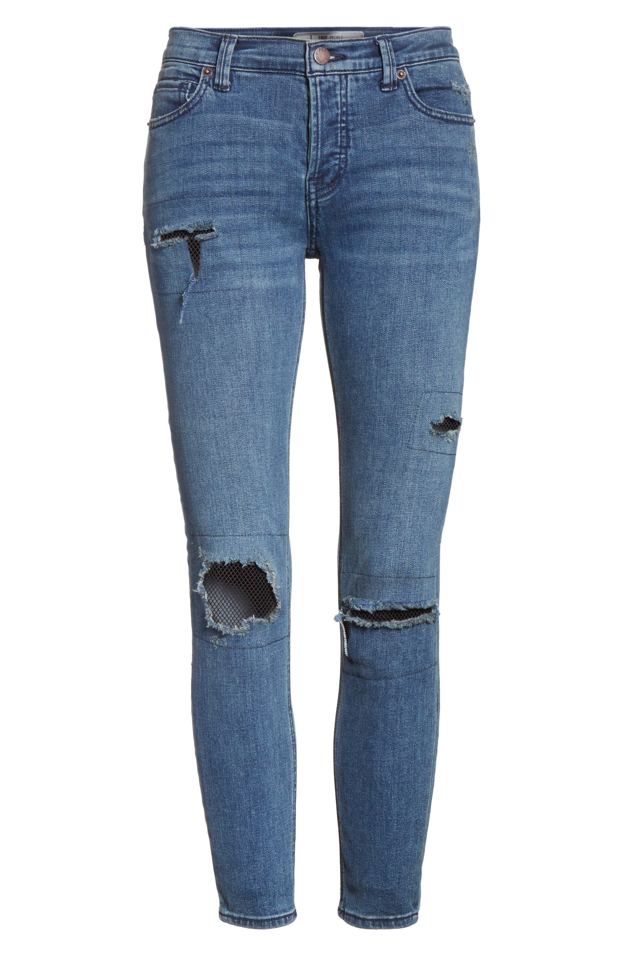Alternate Image 6  - Free People Fishnet Skinny Jeans