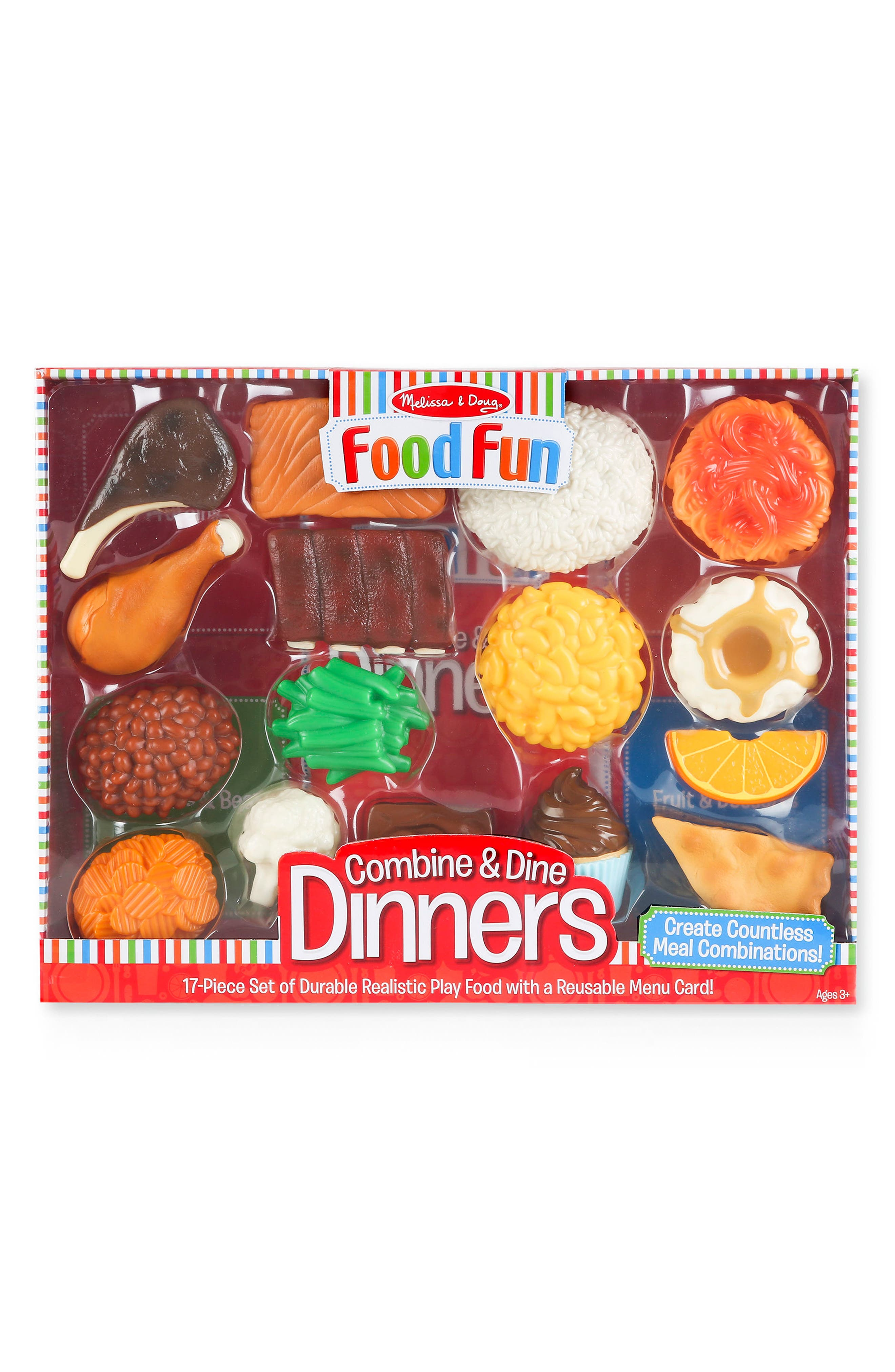 Melissa & Doug 17-Piece Combine & Dine Dinners Play Food Set