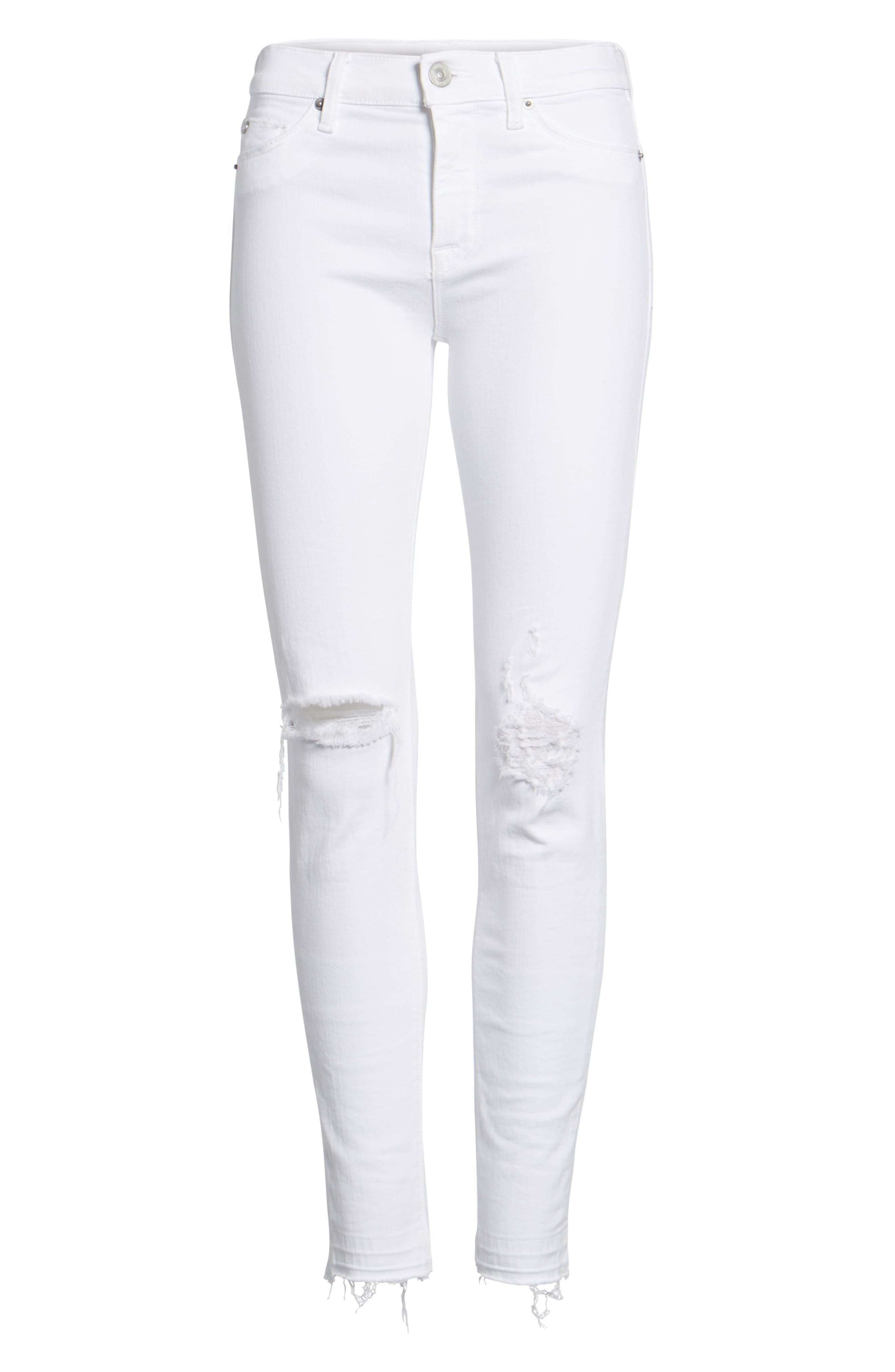 Nico Ankle Super Skinny Jeans,                             Alternate thumbnail 7, color,                             Optical White Destructed