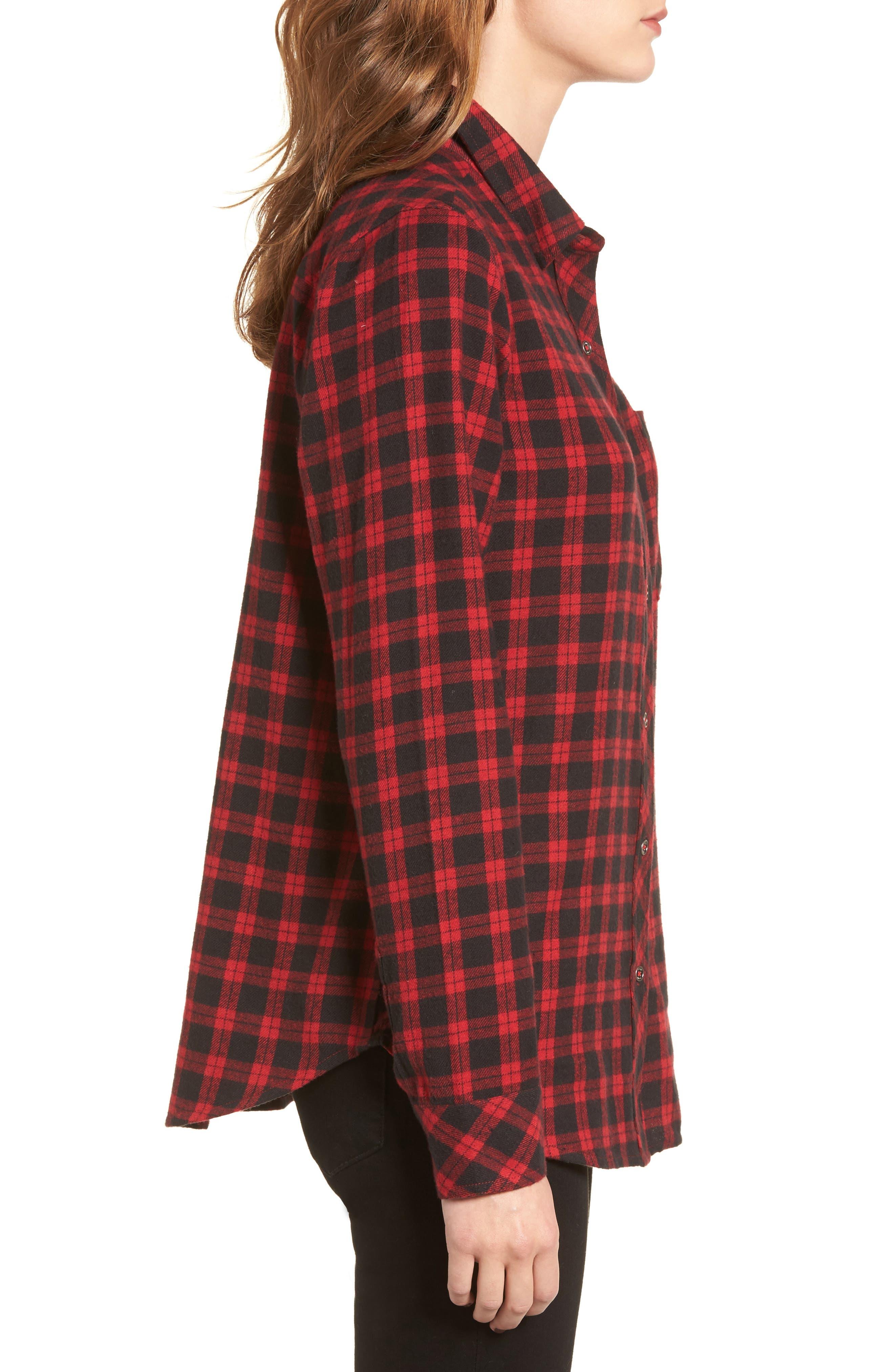 Rhea Check Flannel Shirt,                             Alternate thumbnail 3, color,                             Red