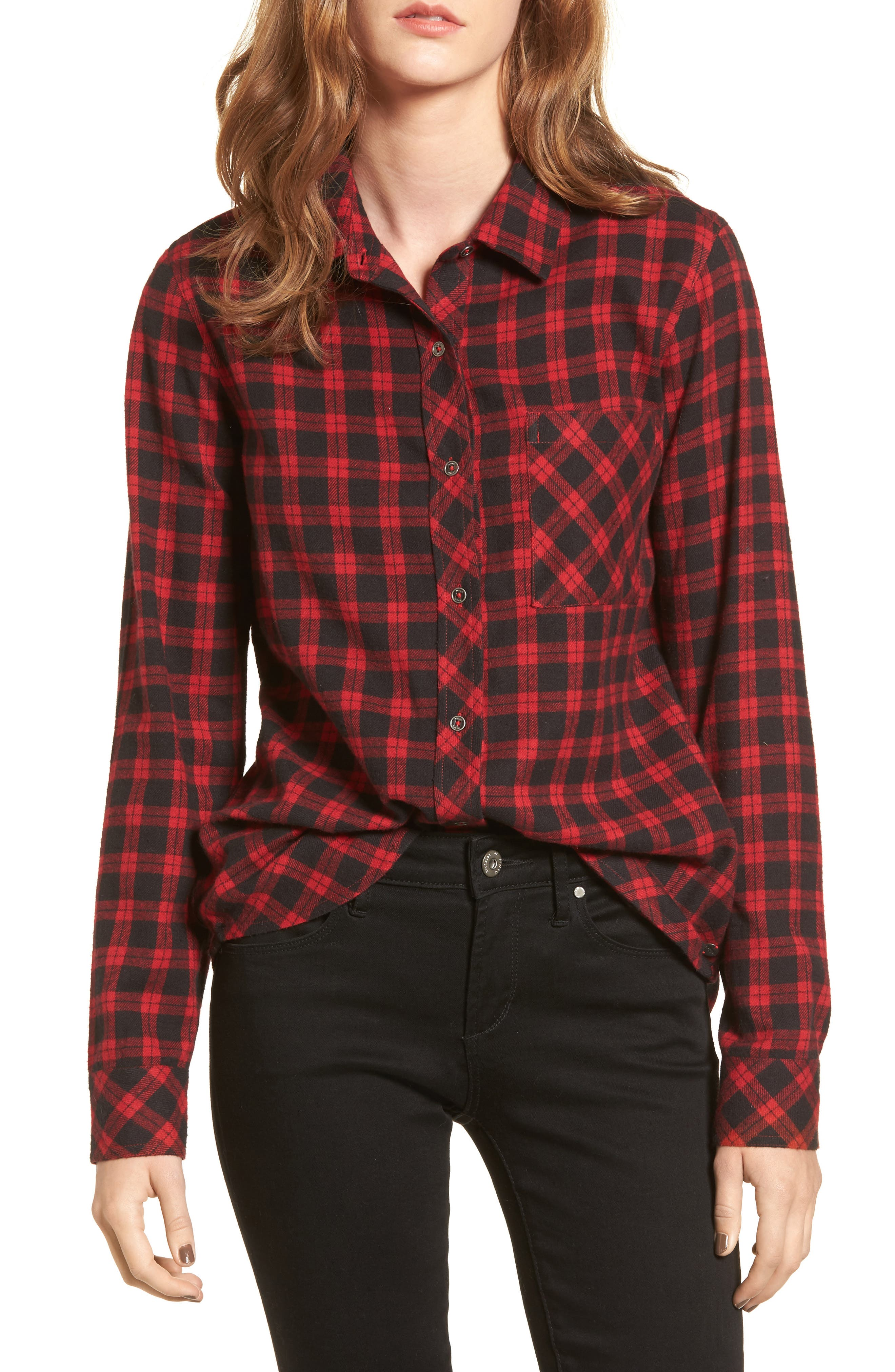 Rhea Check Flannel Shirt,                         Main,                         color, Red