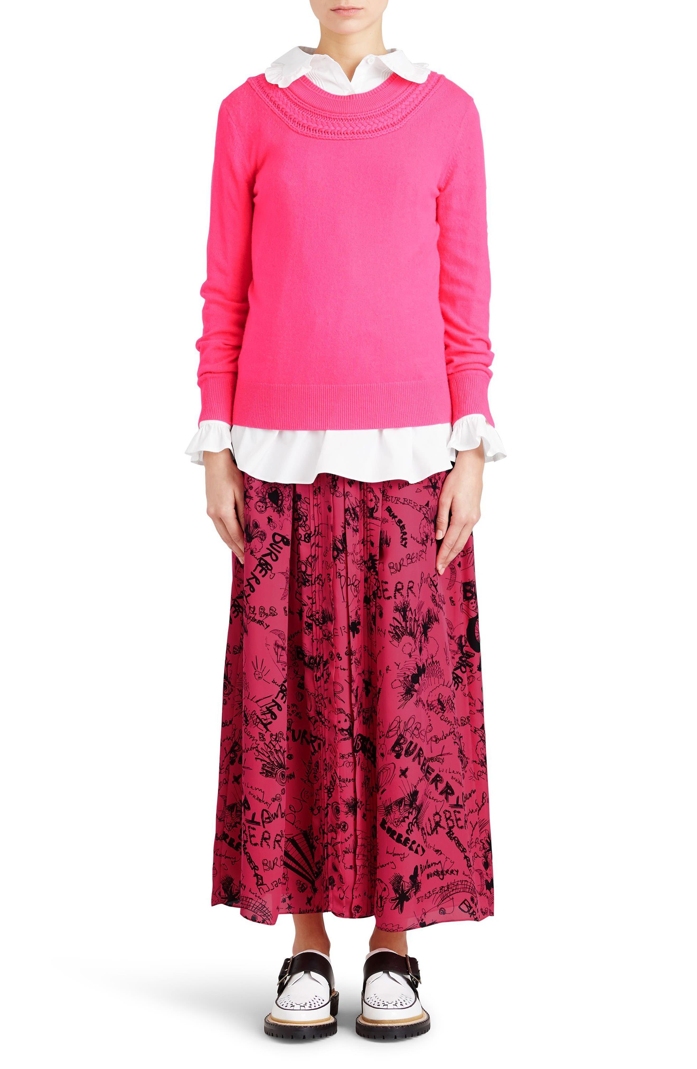 Neckar Doodle Print Silk Skirt,                             Alternate thumbnail 4, color,                             Fluro Pink