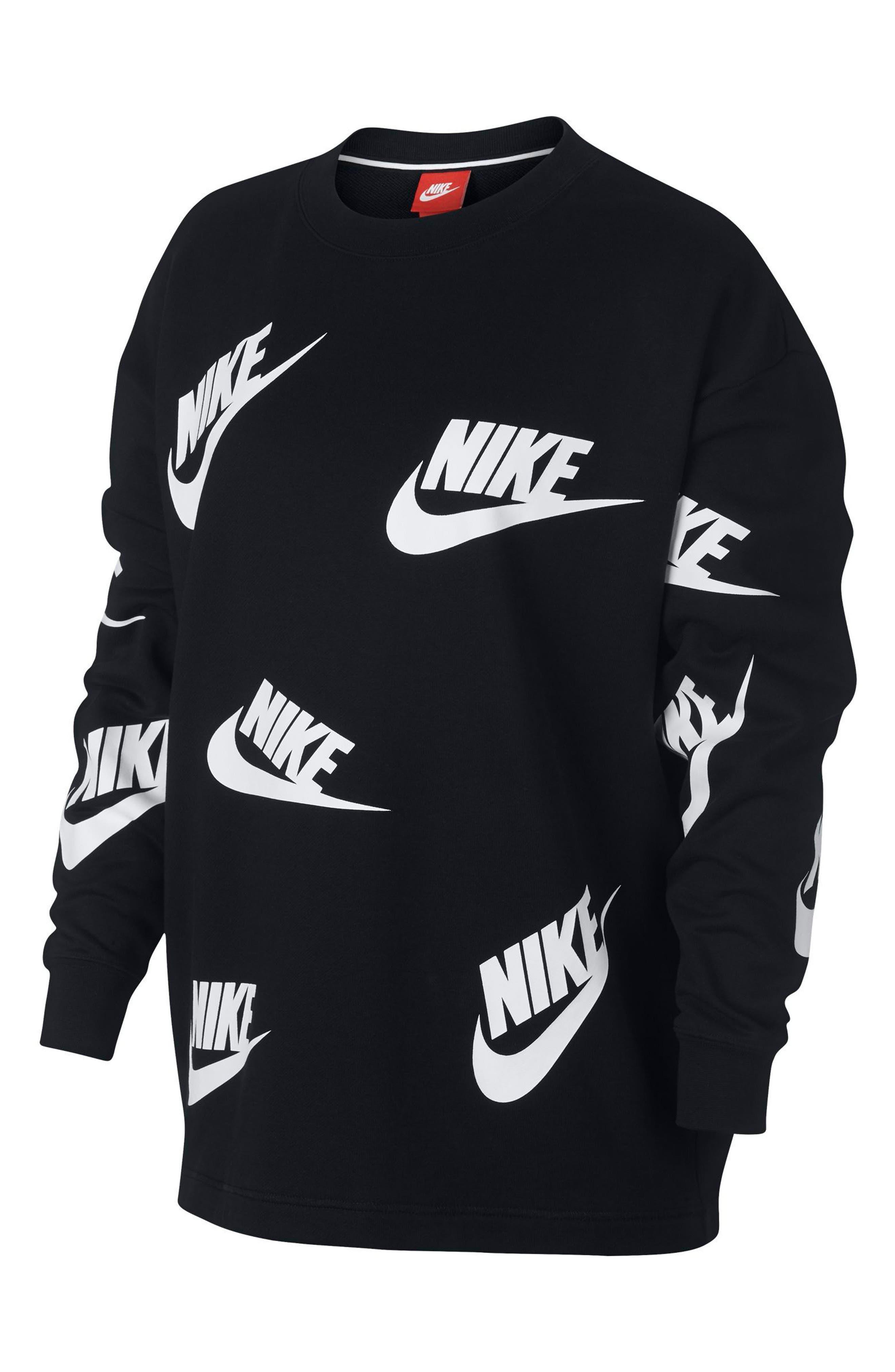 Sportswear Futura Sweatshirt,                             Alternate thumbnail 6, color,                             Black/ White