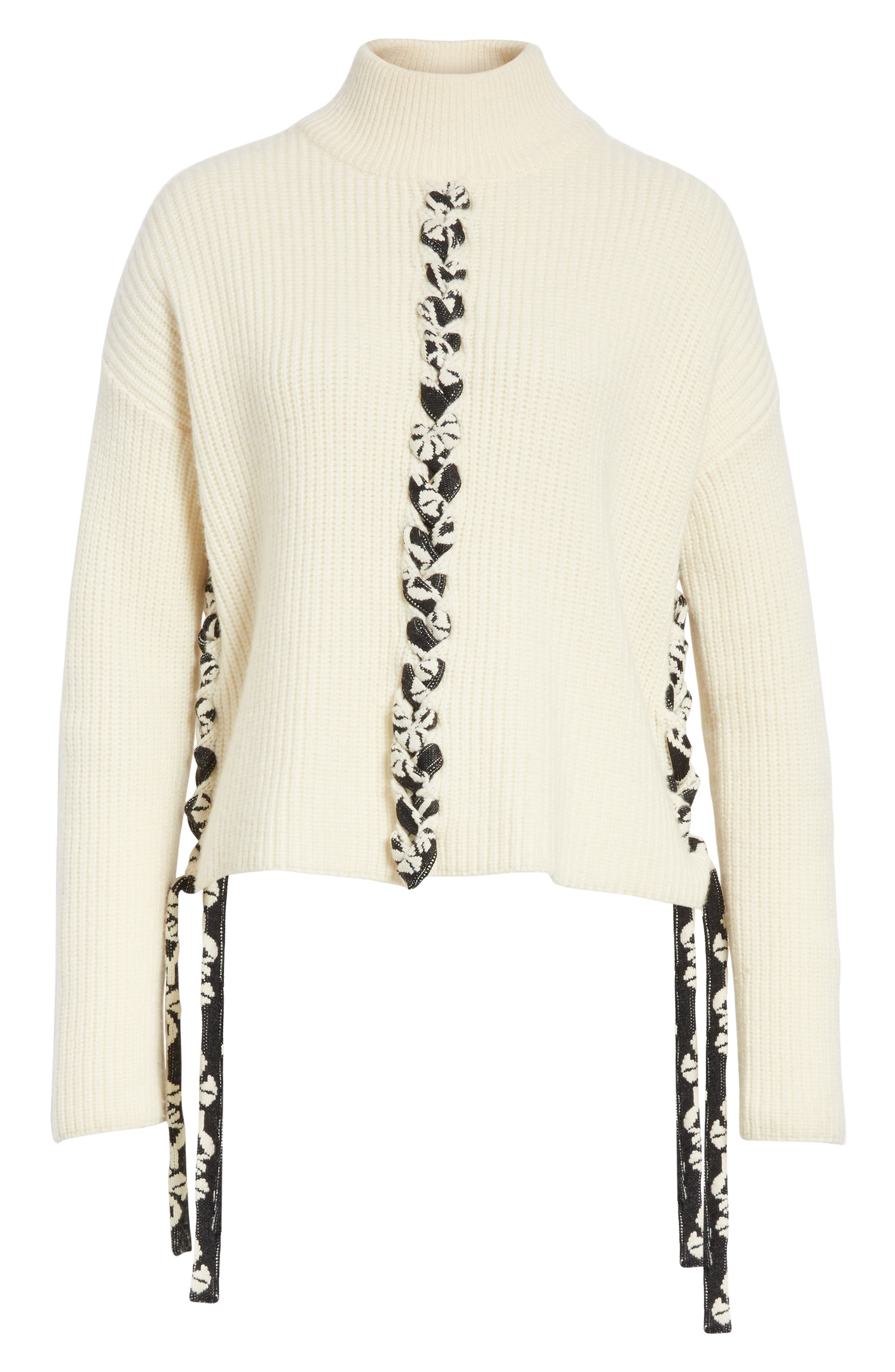 Mughal Lace-Up Sweater,                             Alternate thumbnail 6, color,                             Off White W/ Jacquard Ties