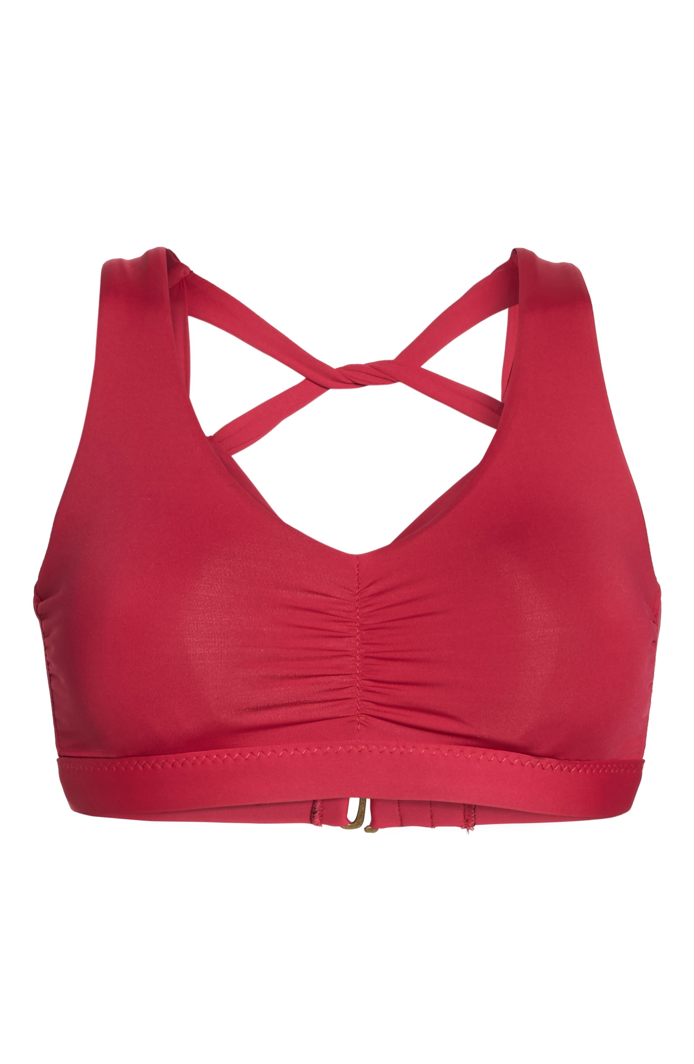 Color Splash Twist Back Bikini Top,                             Alternate thumbnail 6, color,                             Raspberry