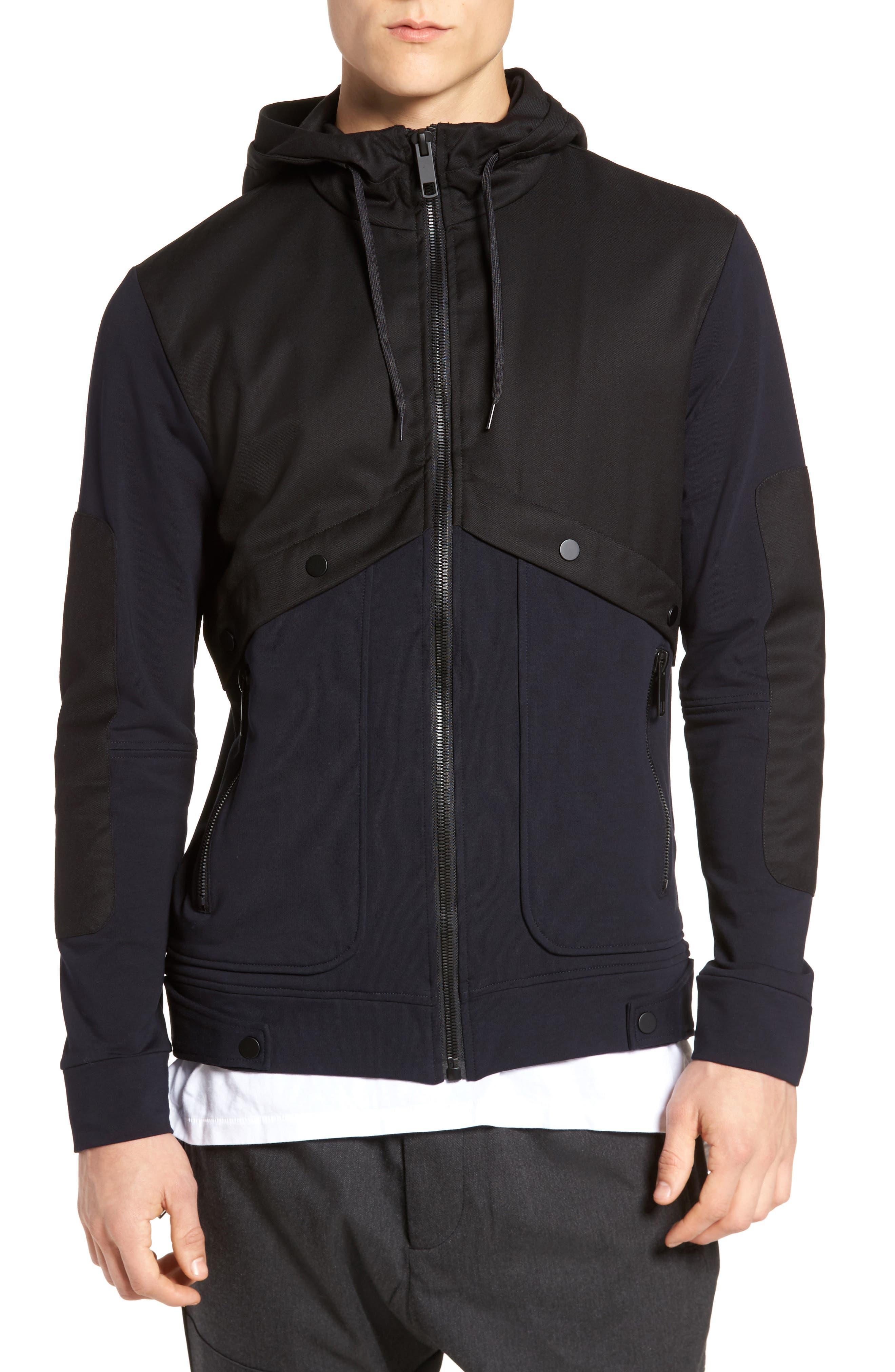 Fleece Zip Up Jacket,                             Main thumbnail 1, color,                             Black