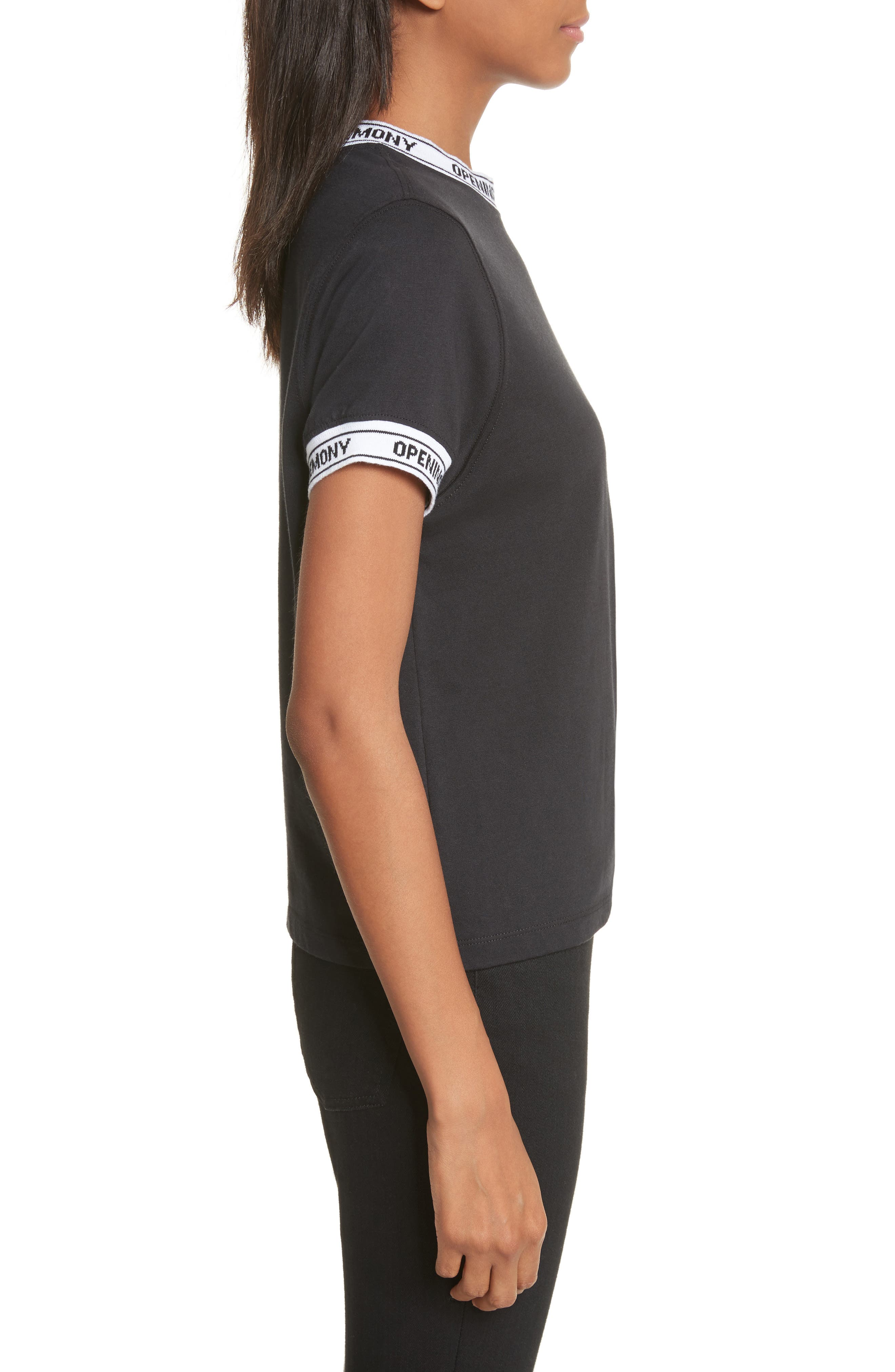 Banded Tee,                             Alternate thumbnail 3, color,                             Black