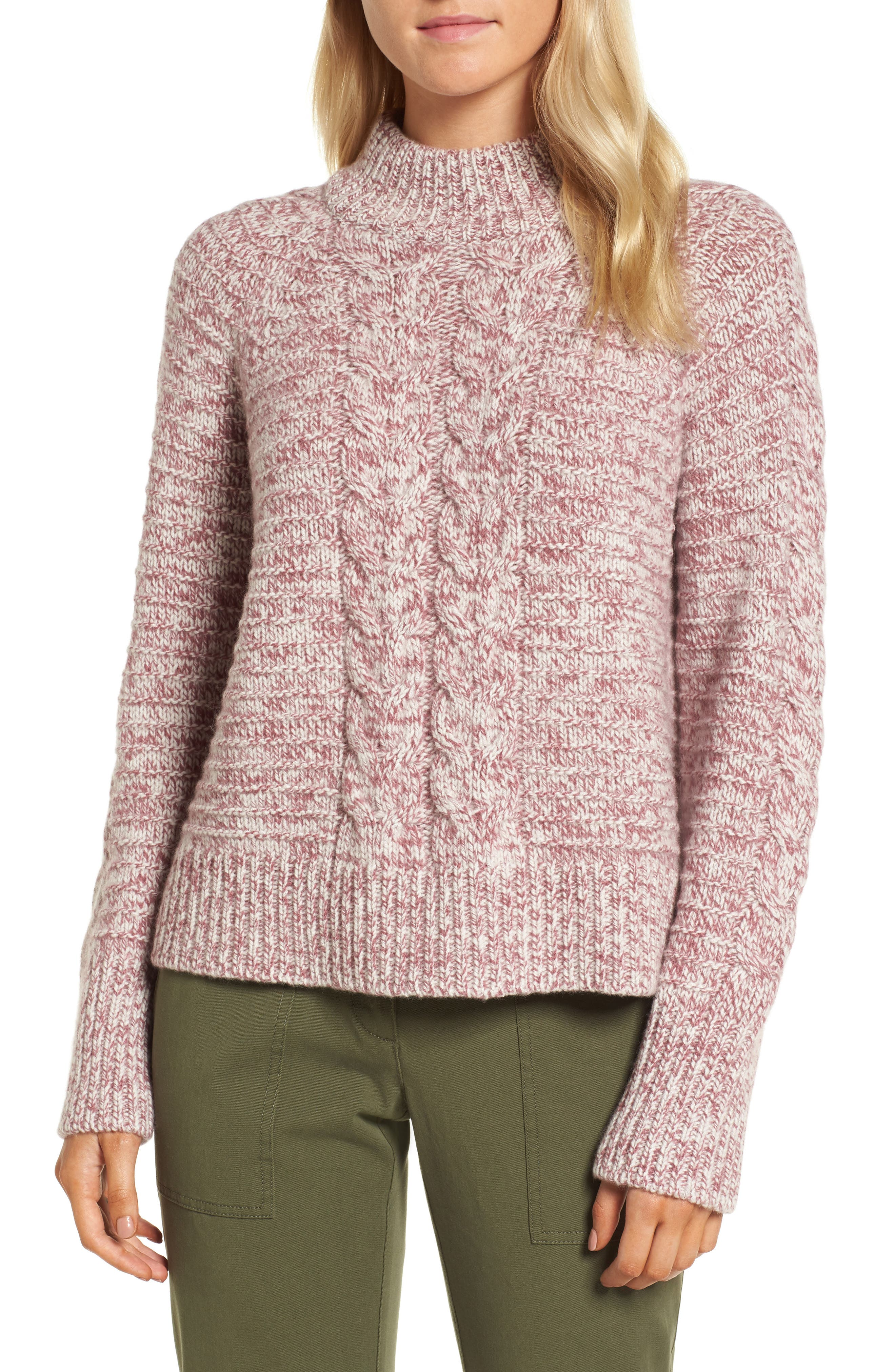 Cashmere Cable Knit Sweater,                         Main,                         color, Burgundy- Ivory Marl