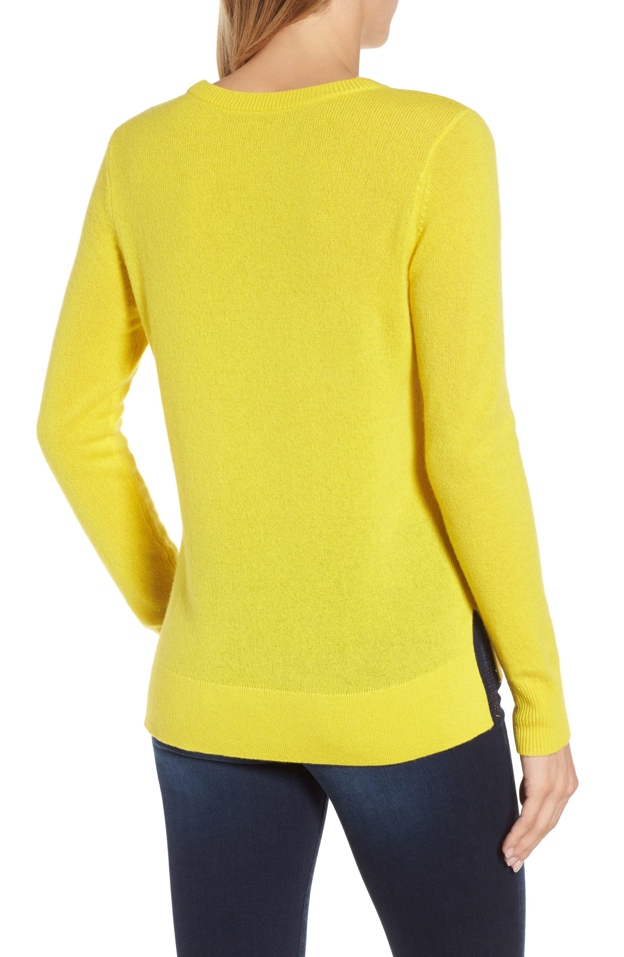 Crewneck Cashmere Sweater,                             Alternate thumbnail 3, color,                             Blazing Buttercup