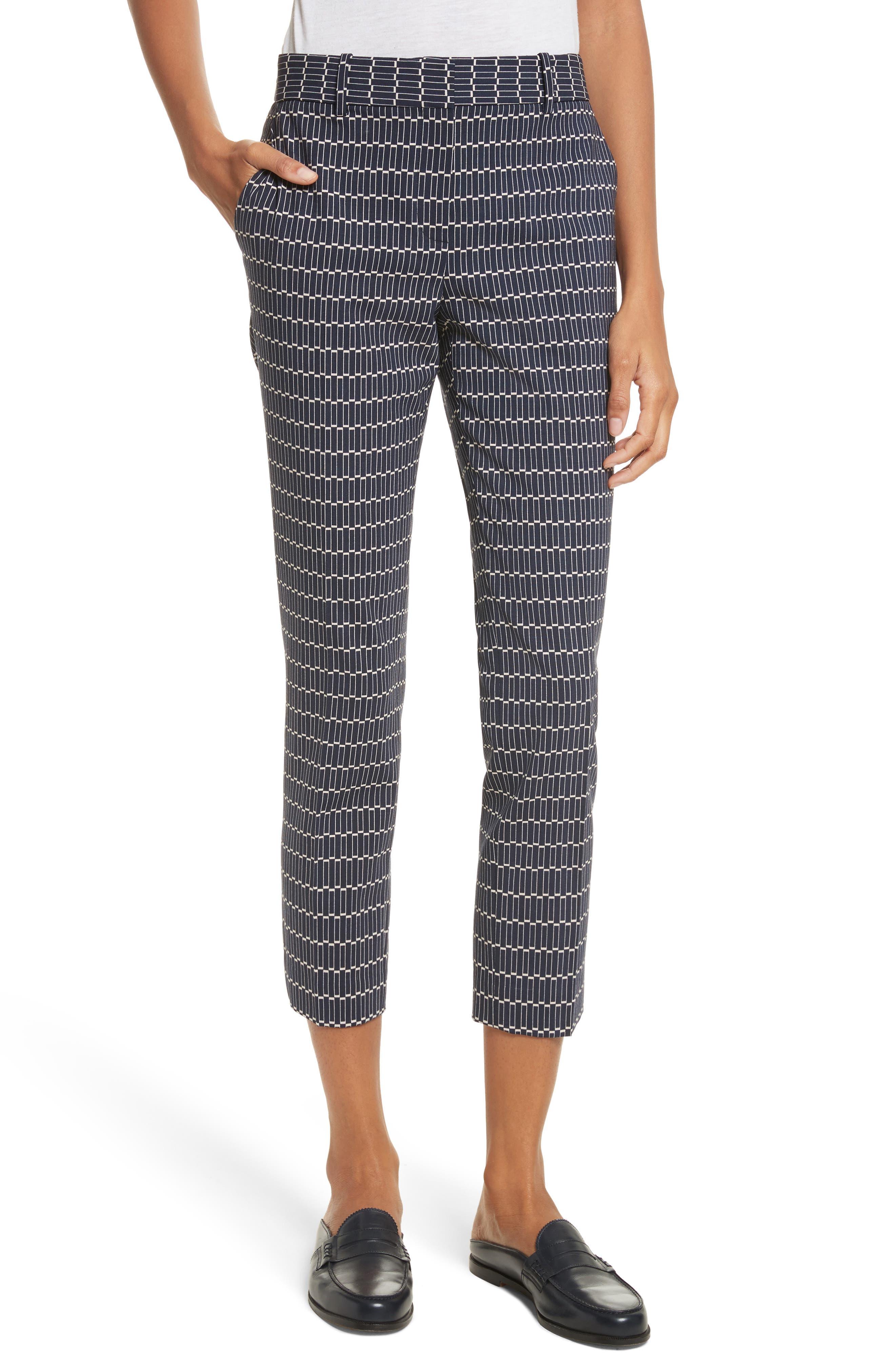 Treeca Stretch Wool Cigarette Pants,                         Main,                         color, Deep Navy
