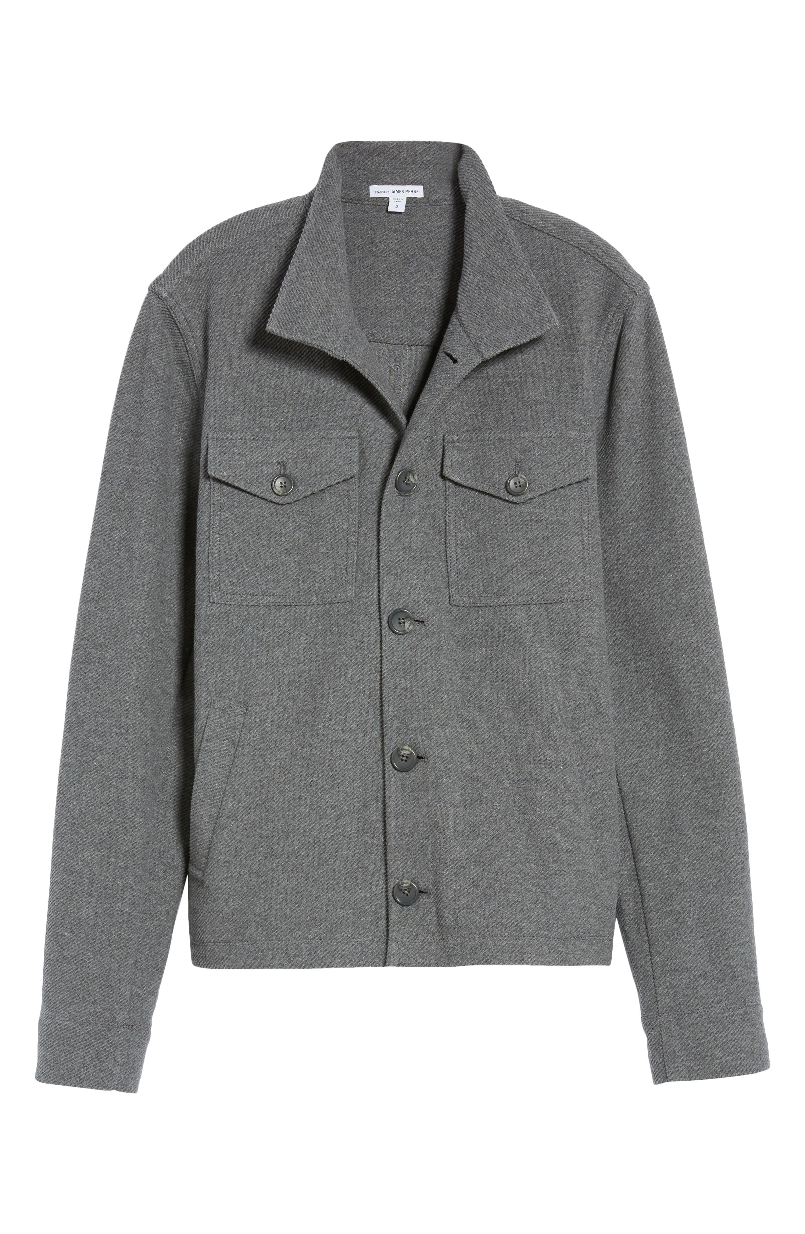 Drill Button Front Knit Jacket,                             Alternate thumbnail 6, color,                             Heather Charcoal