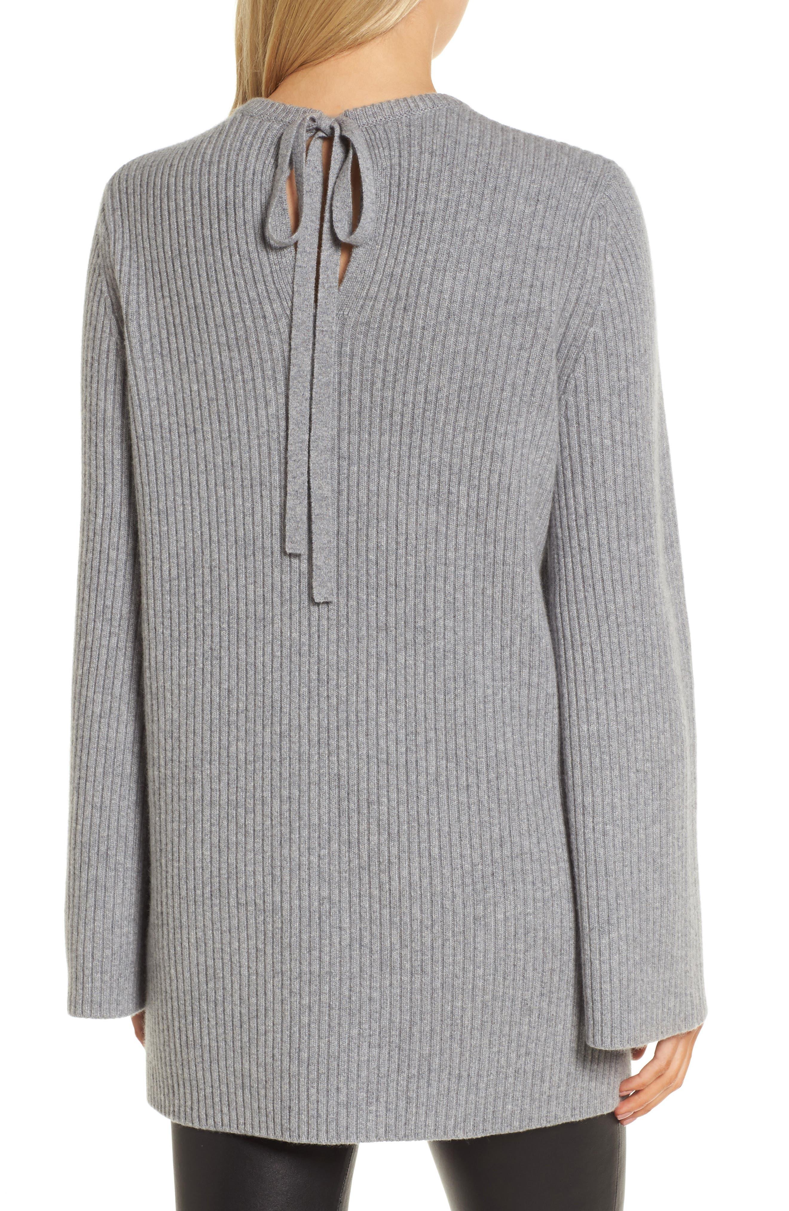 Tie Back Cashmere Blend Sweater,                             Alternate thumbnail 2, color,                             Grey Filigree Heather