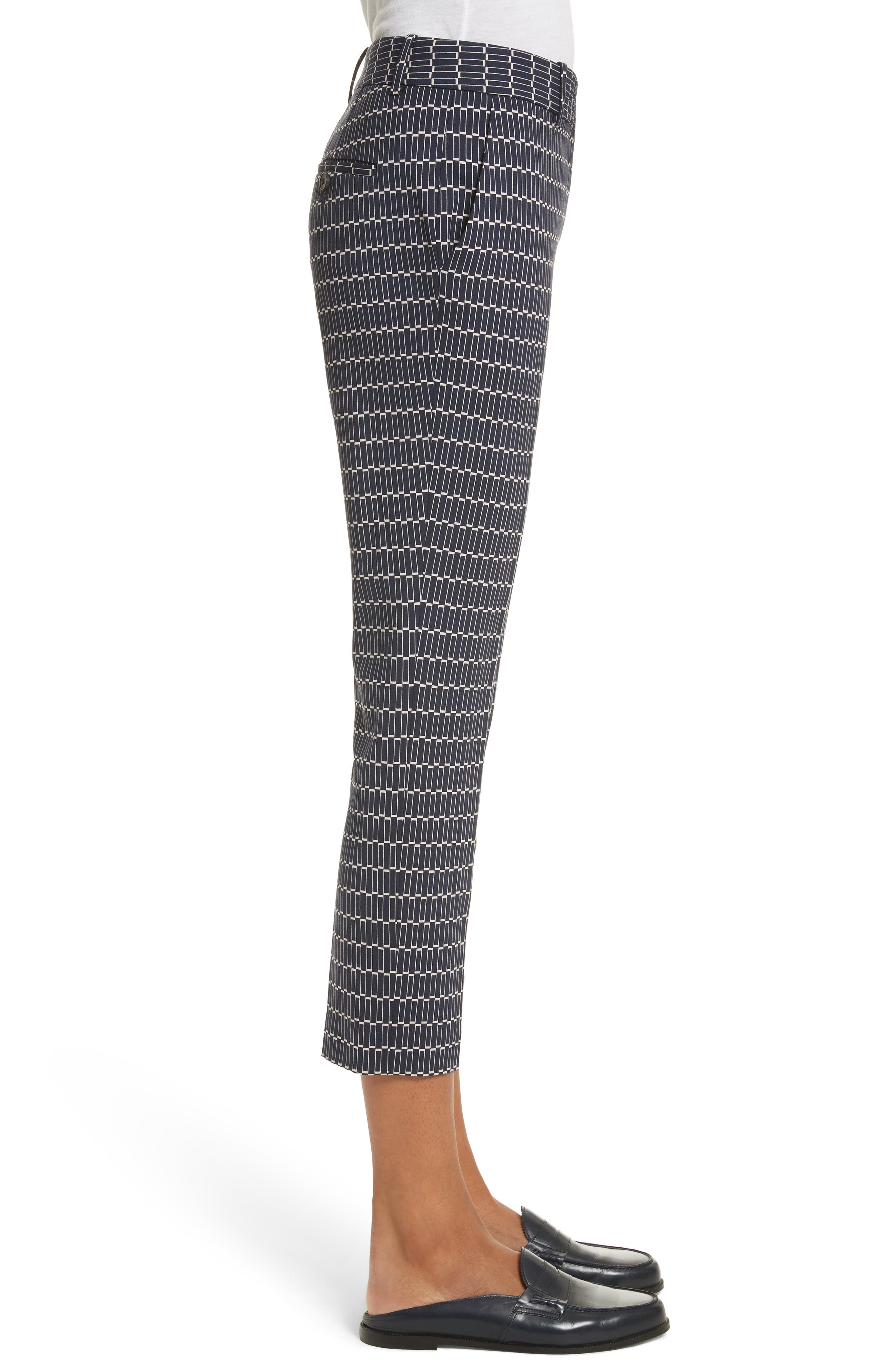 Treeca Stretch Wool Cigarette Pants,                             Alternate thumbnail 3, color,                             Deep Navy