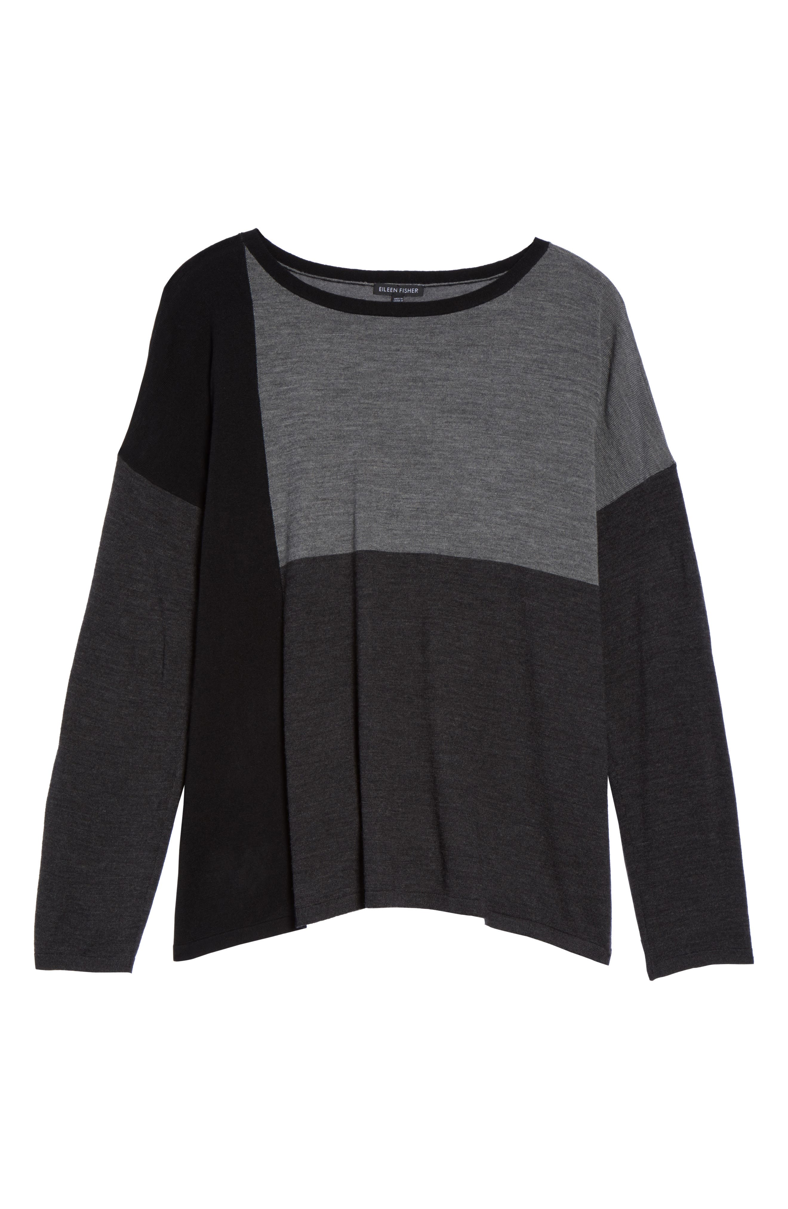 Colorblock Boxy Merino Wool Sweater,                             Alternate thumbnail 6, color,                             Charcoal