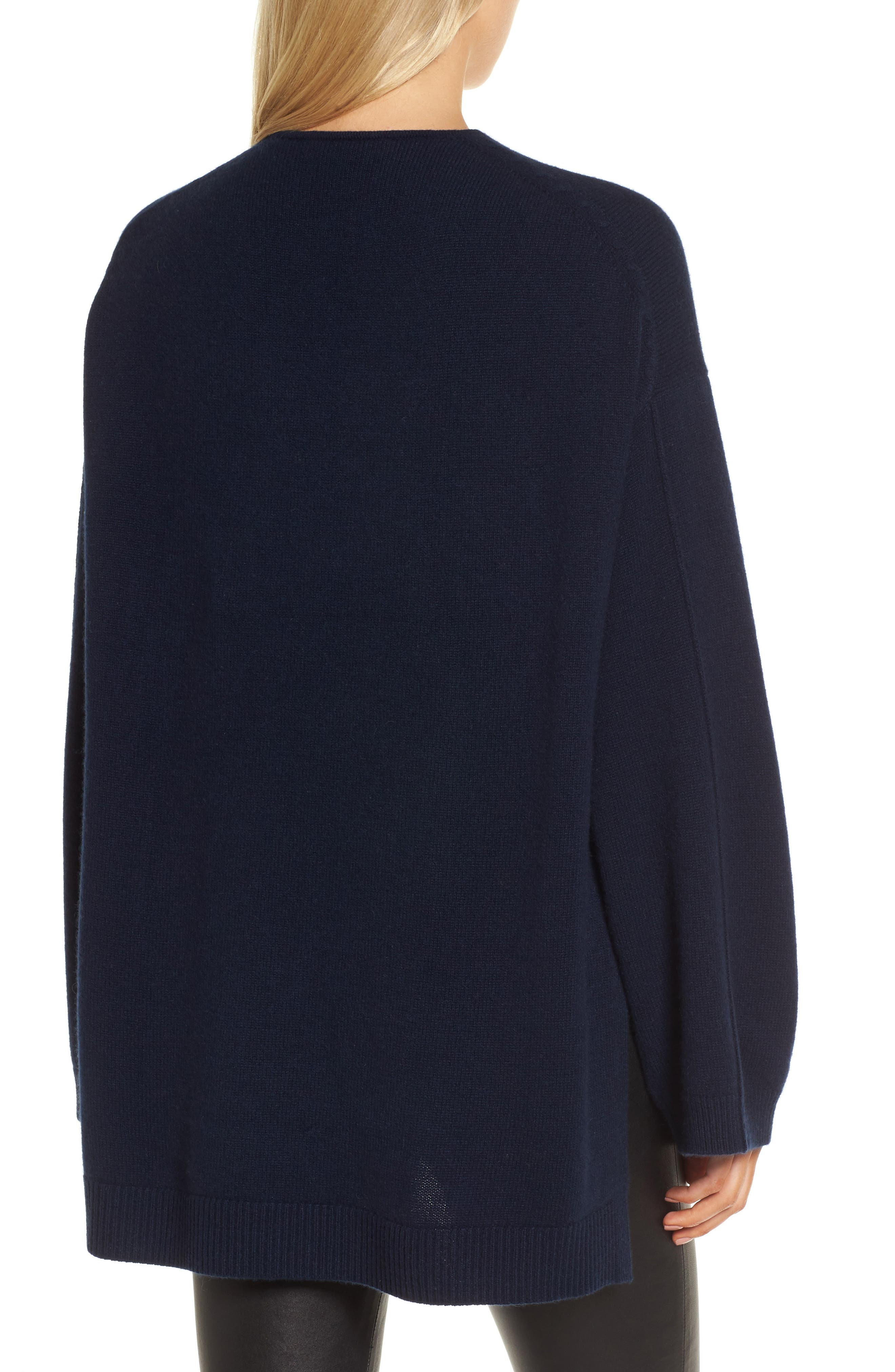 Cashmere High/Low Tunic Sweater,                             Alternate thumbnail 2, color,                             Navy Medieval