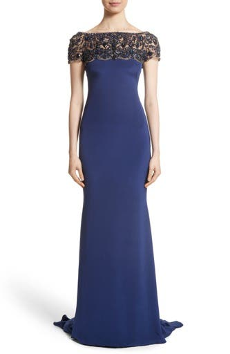 Embellished Bodice Silk Mermaid Gown,                         Main,                         color, Royal