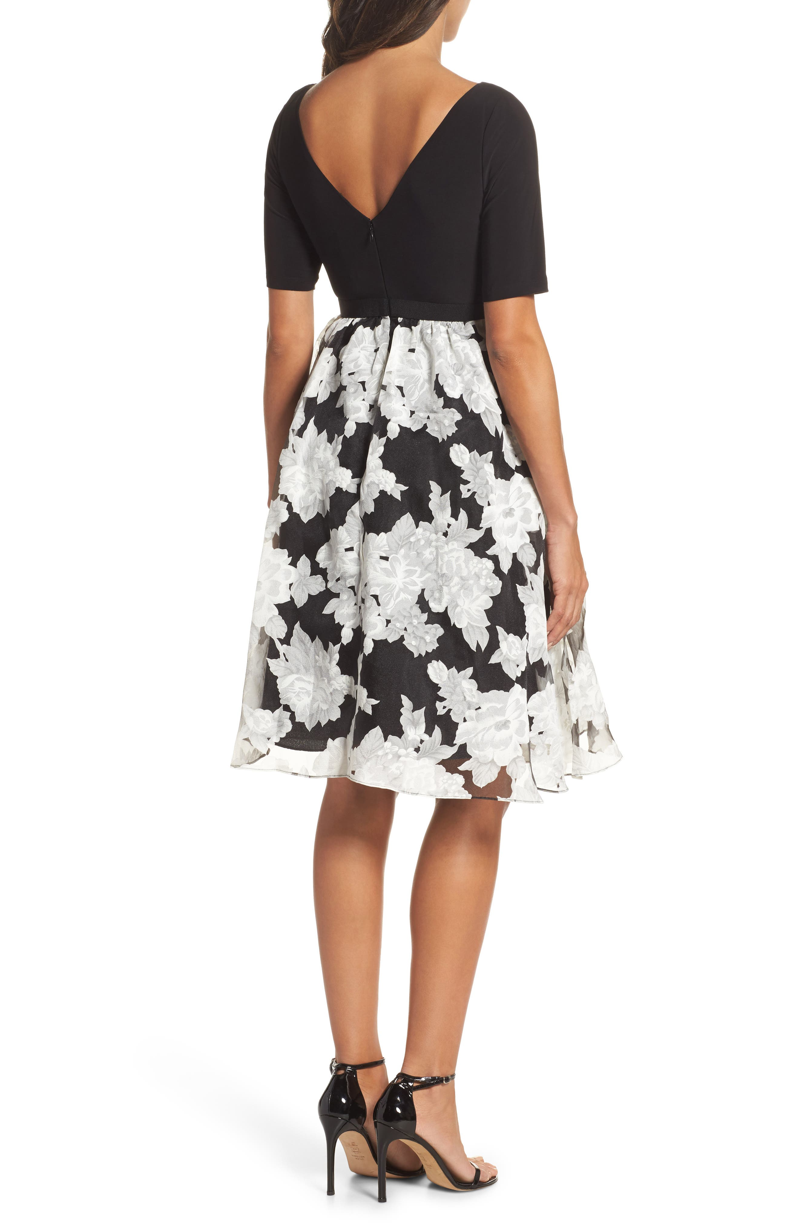 Print Organza Fit & Flare Dress,                             Alternate thumbnail 2, color,                             Black/ Ivory