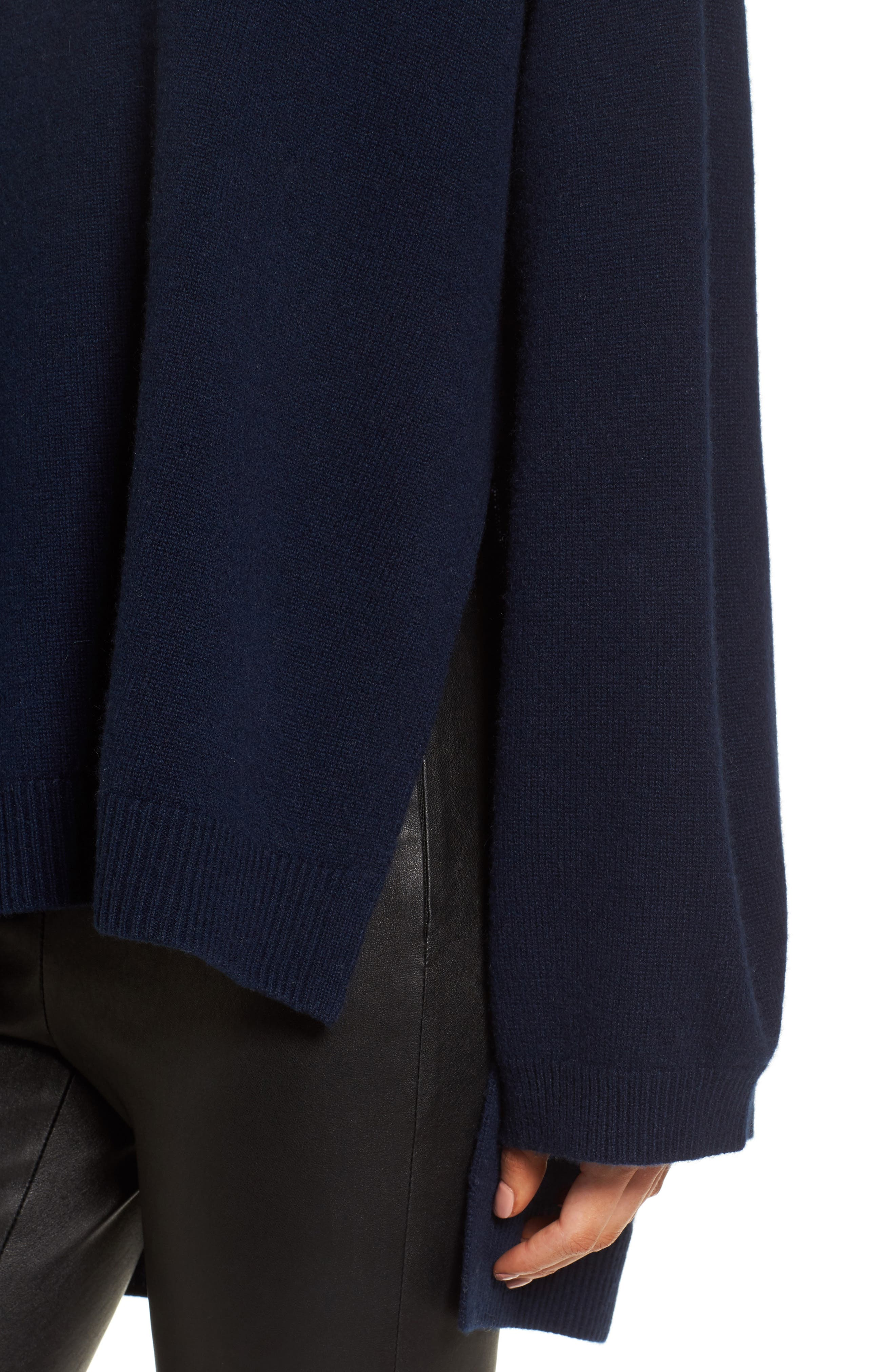 Cashmere High/Low Tunic Sweater,                             Alternate thumbnail 4, color,                             Navy Medieval