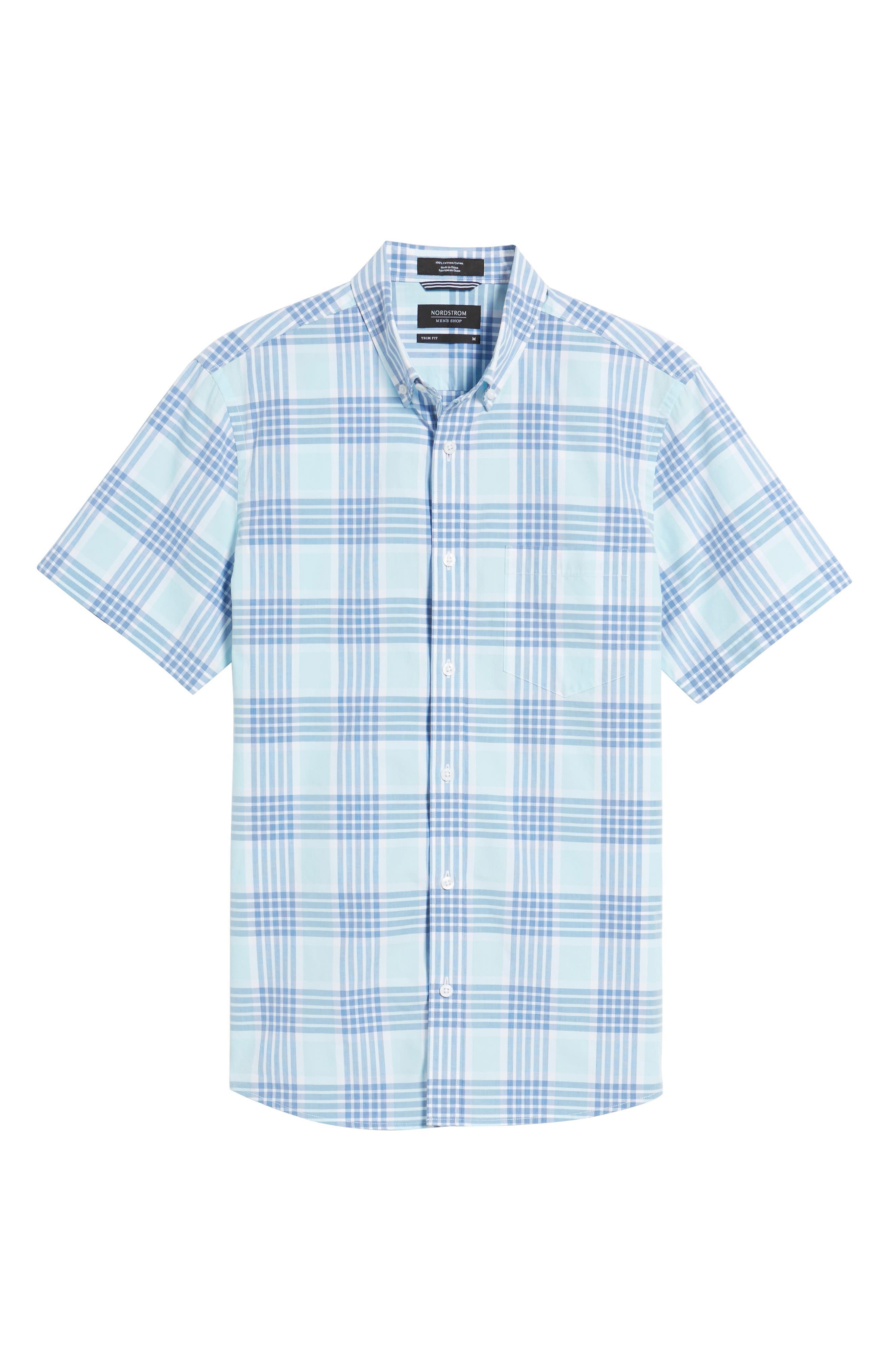 Trim Fit Washed Plaid Sport Shirt,                             Alternate thumbnail 6, color,                             Blue Aquatic Plaid