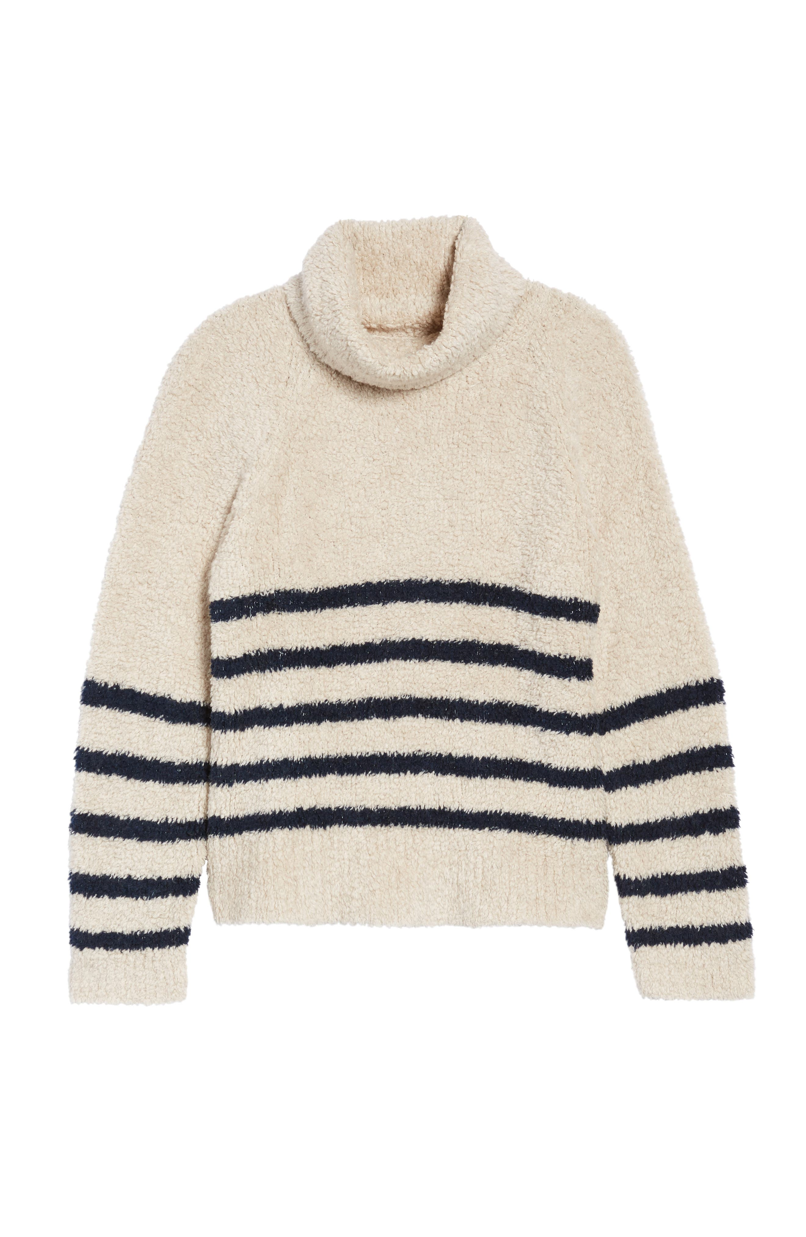 Mariner Stripe Turtleneck Sweater,                             Alternate thumbnail 6, color,                             Cloud Lining