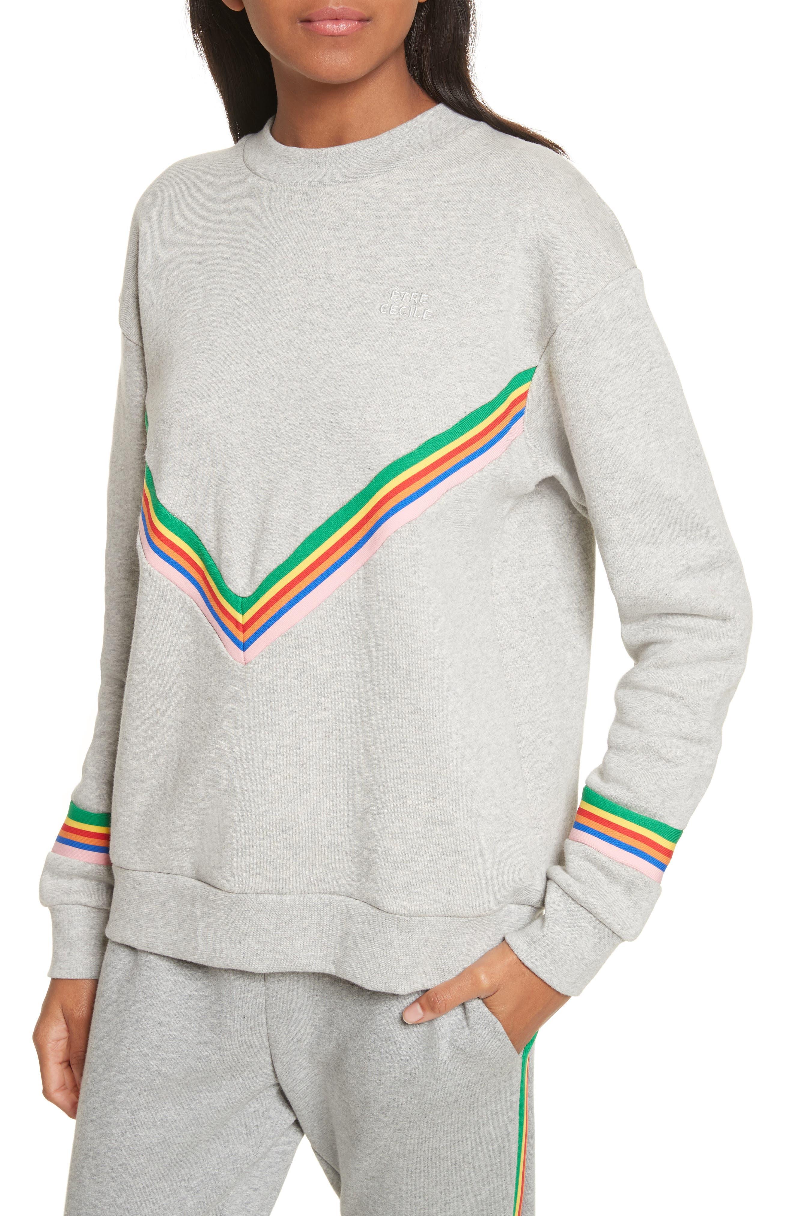 être cécile Rainbow Cotton Boyfriend Sweatshirt,                             Alternate thumbnail 4, color,                             Grey Marl