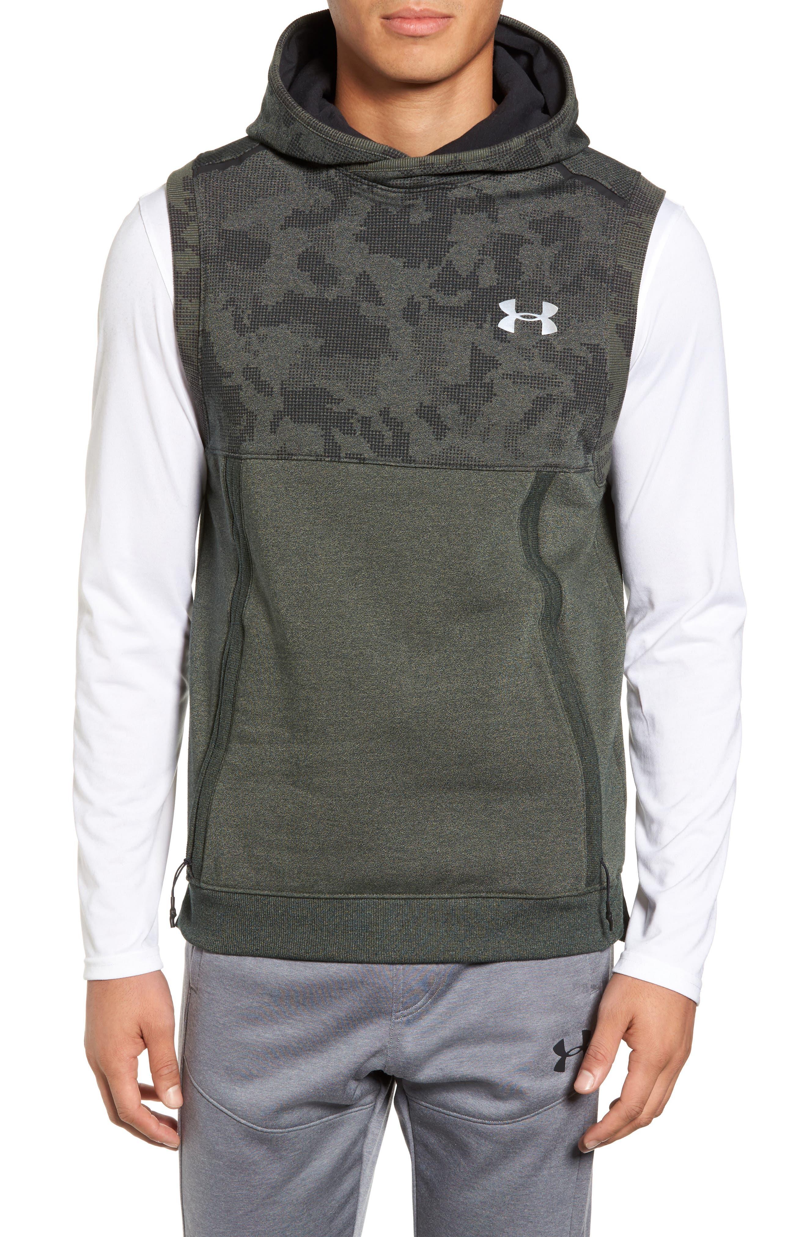 Threadborne Hooded Vest,                         Main,                         color, Downtown Green / Refletive