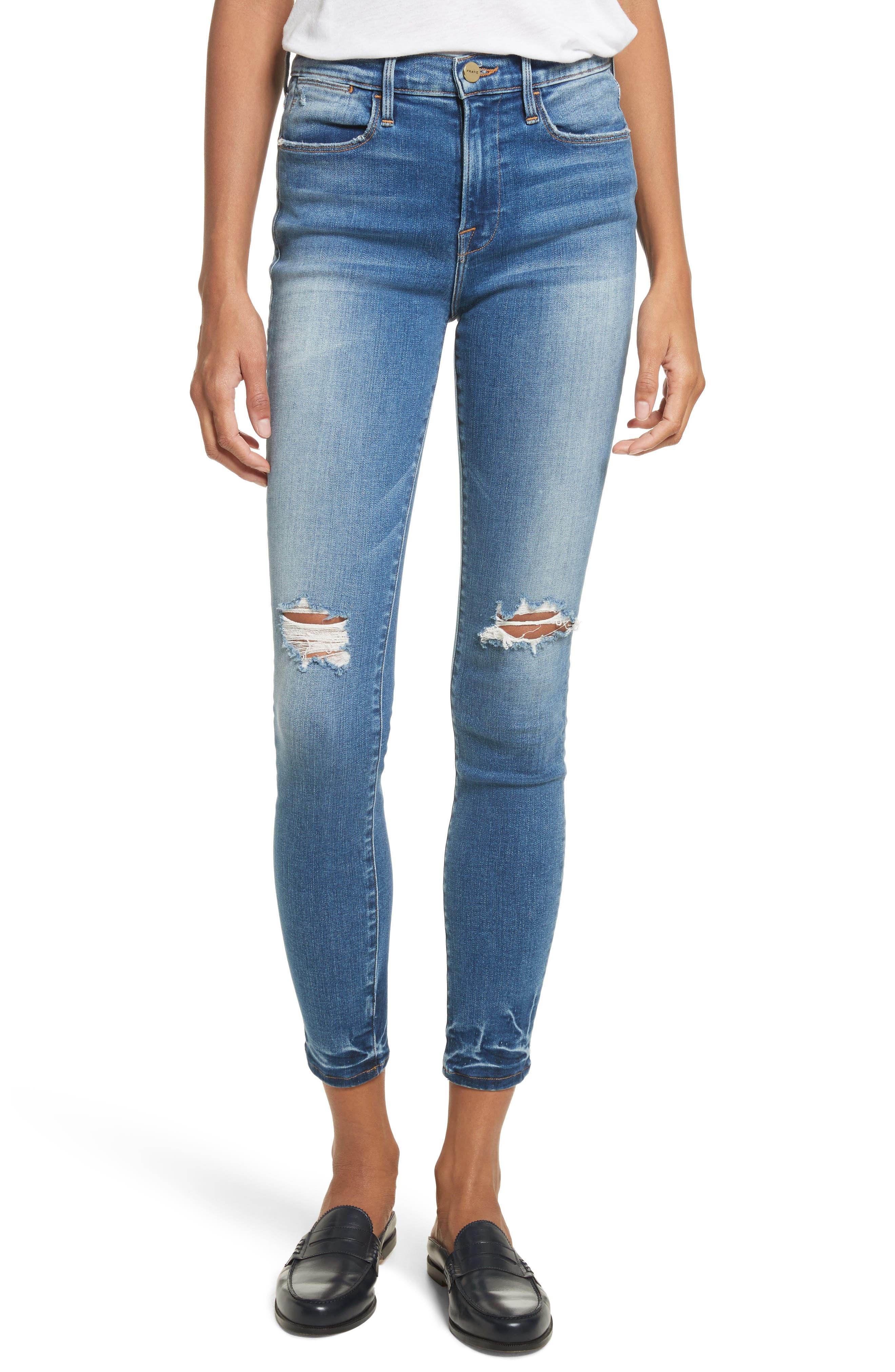 Main Image - FRAME Le High Ankle Skinny Jeans (Roman)